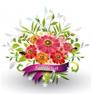 Flowers with Ribbon Vector png