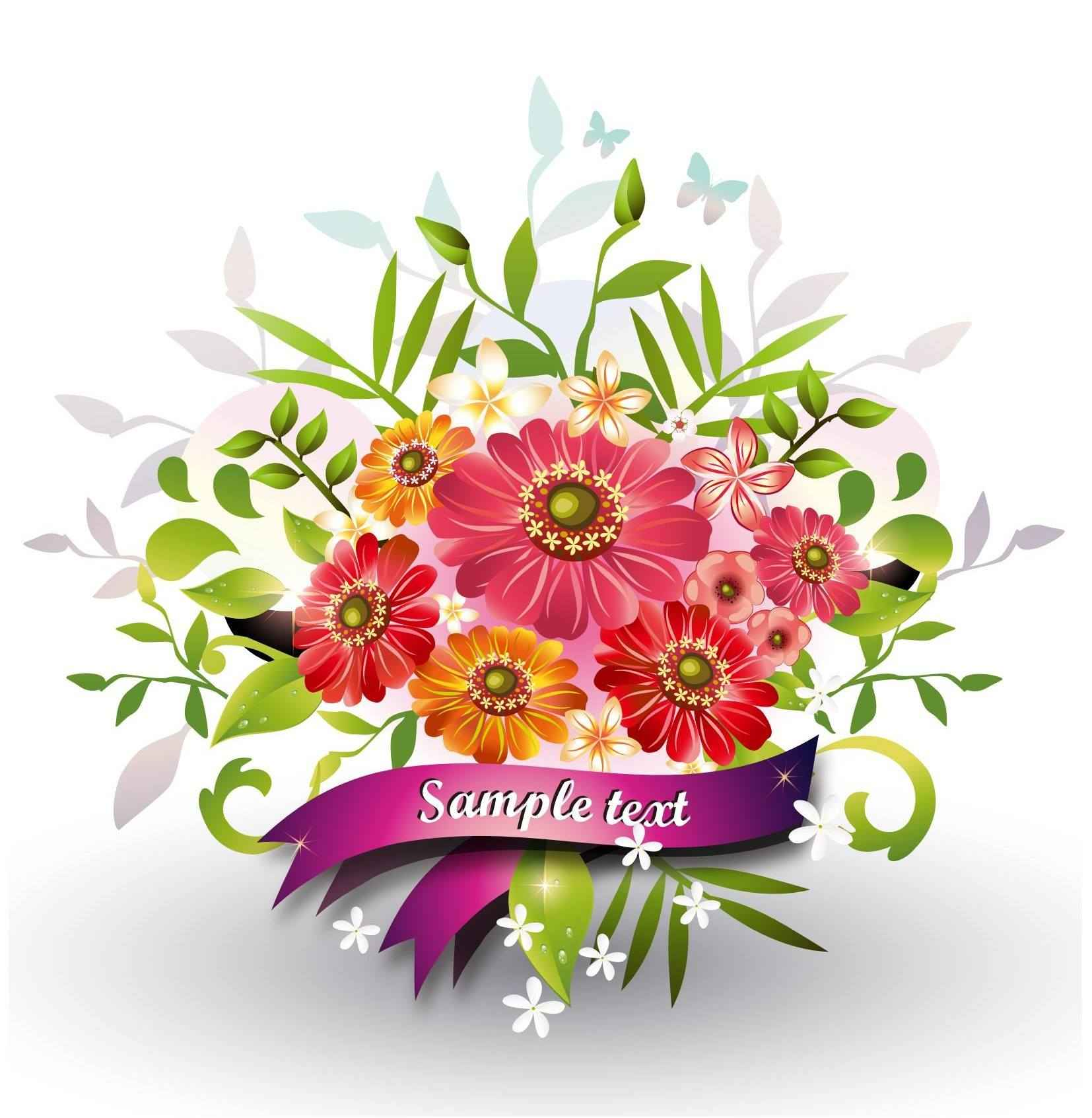 Flowers with Ribbon Vector [EPS File] Vector EPS Free Download ...