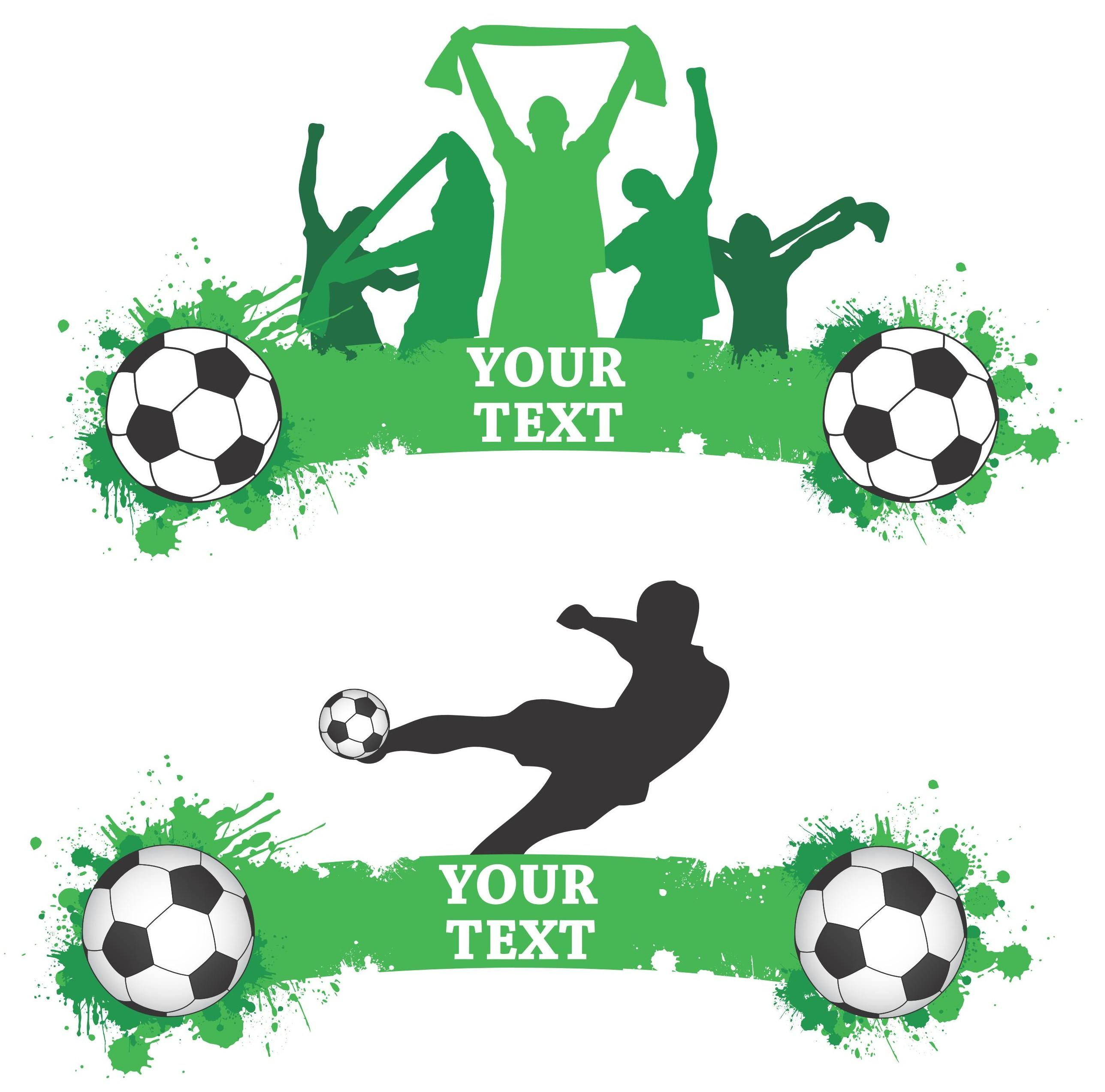 Green Football Banners Vector png