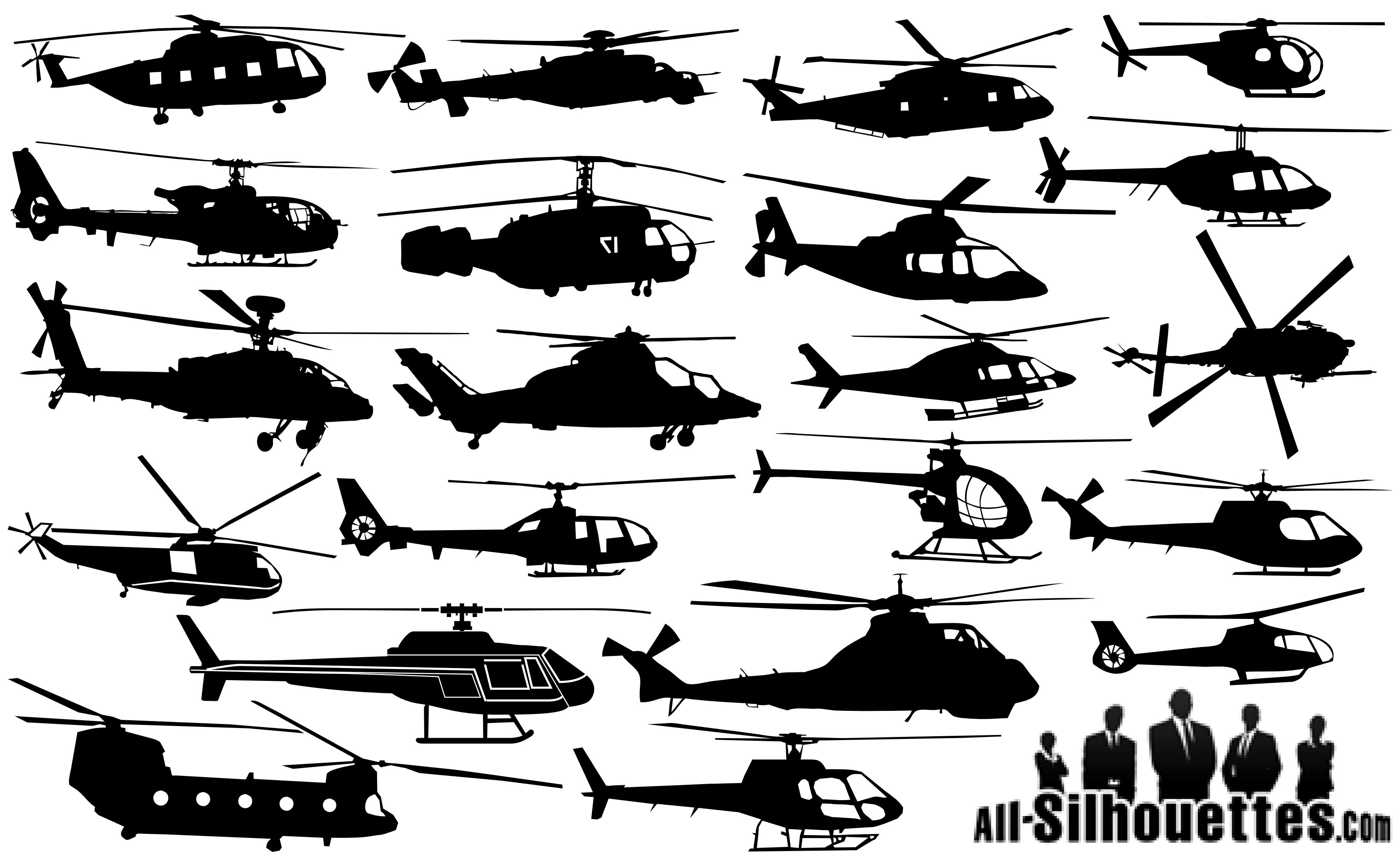 Helicopter Silhouettes png