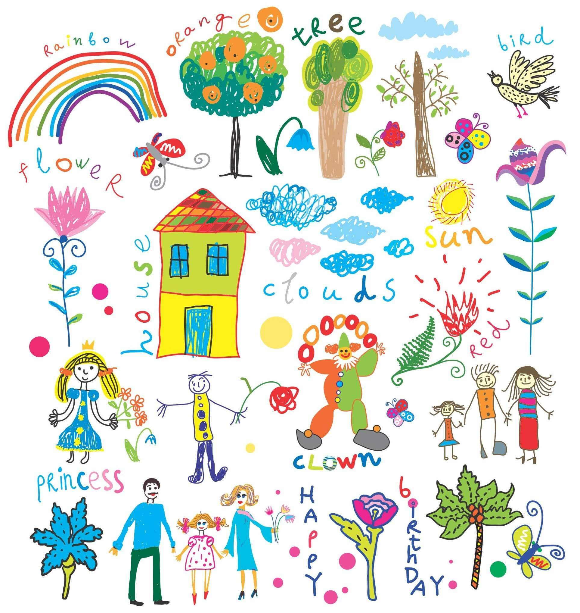 Hand Painted Childrens Vector [EPS File] png