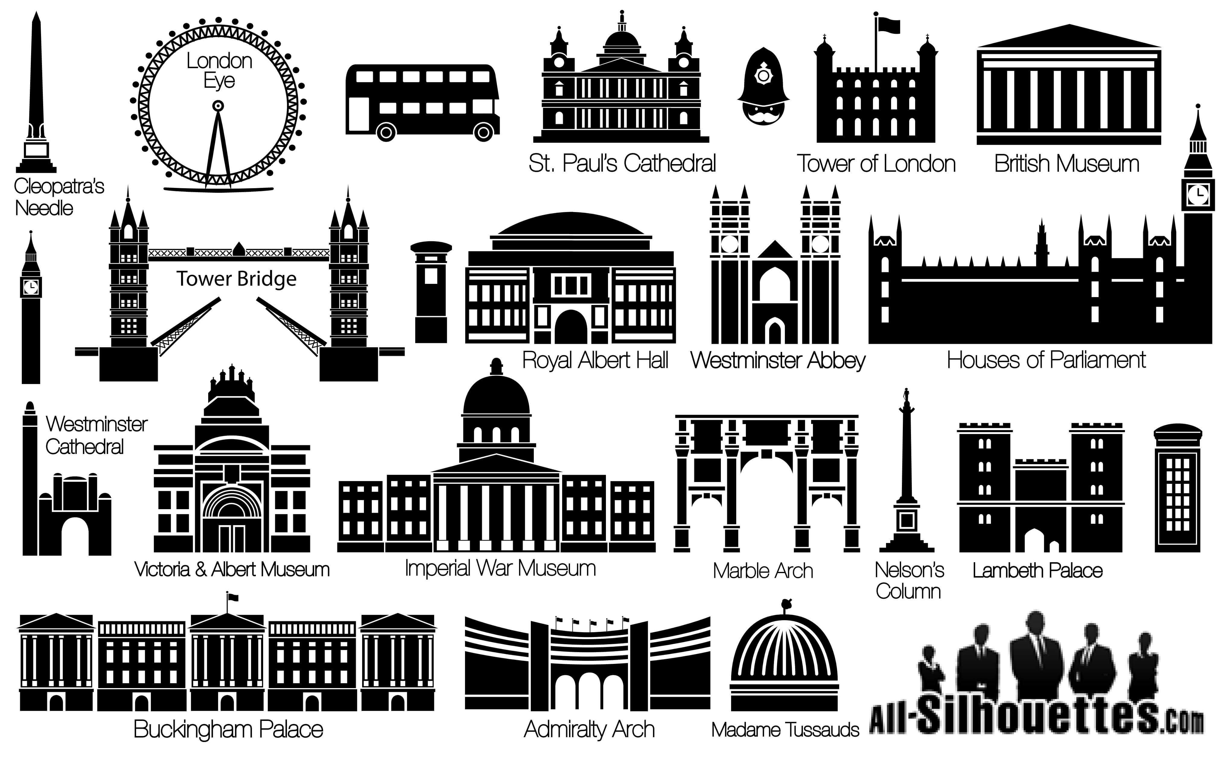 London Sightseeing Silhouettes png