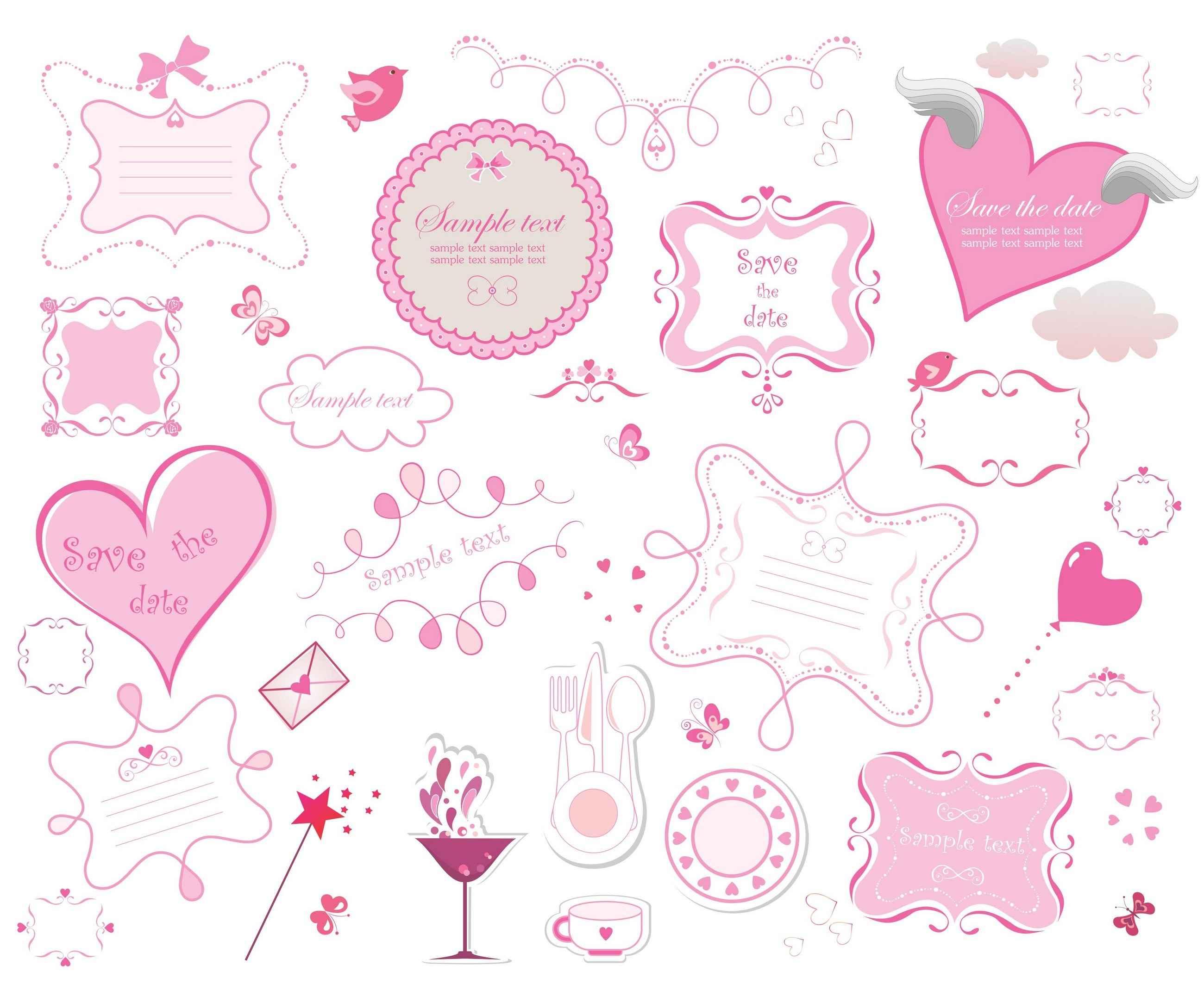 Romantic love design elements Vecto Pack [EPS File] png