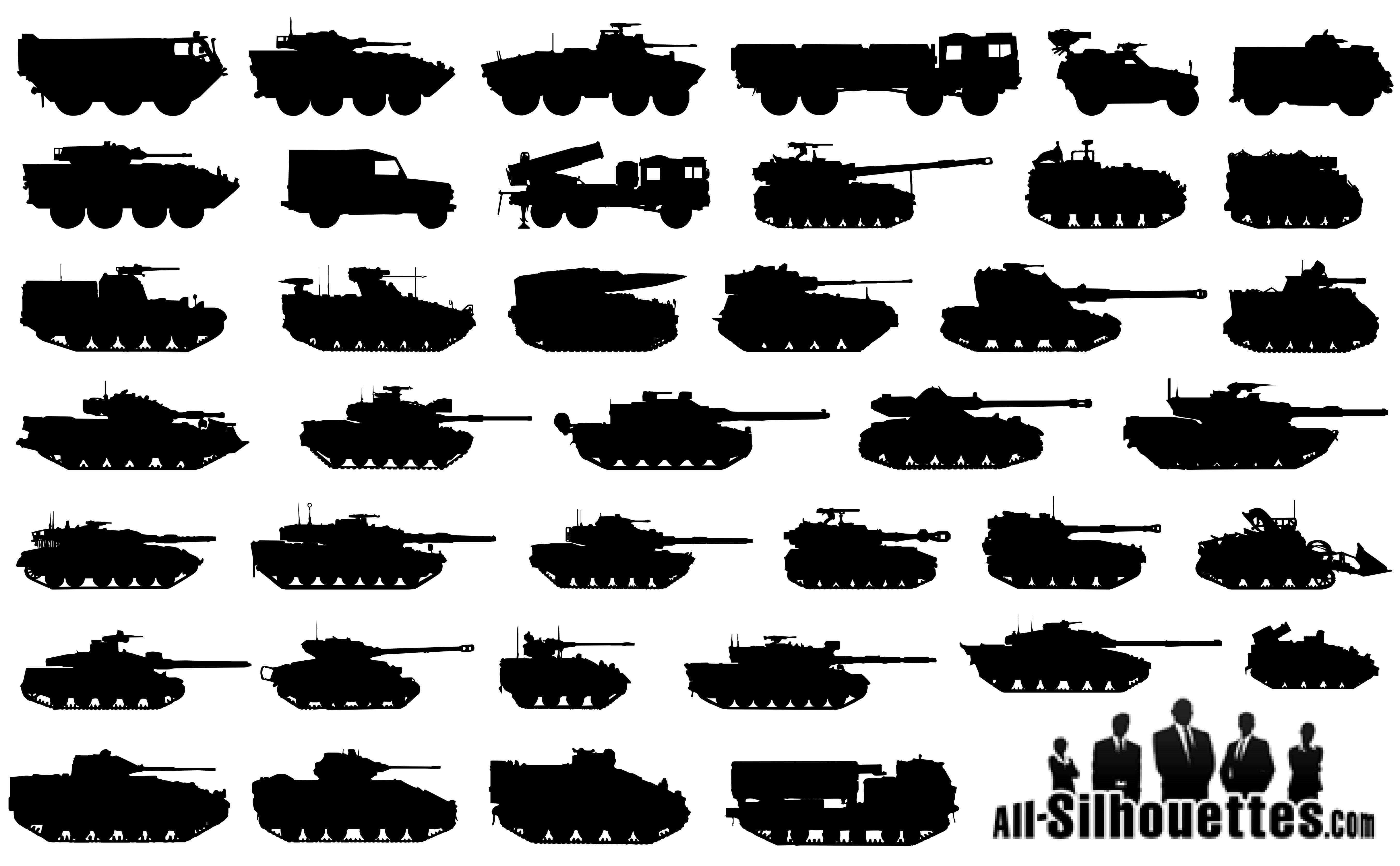 Military Tanks Silhouettes png