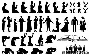 Praying Man and Woman Silhouettes