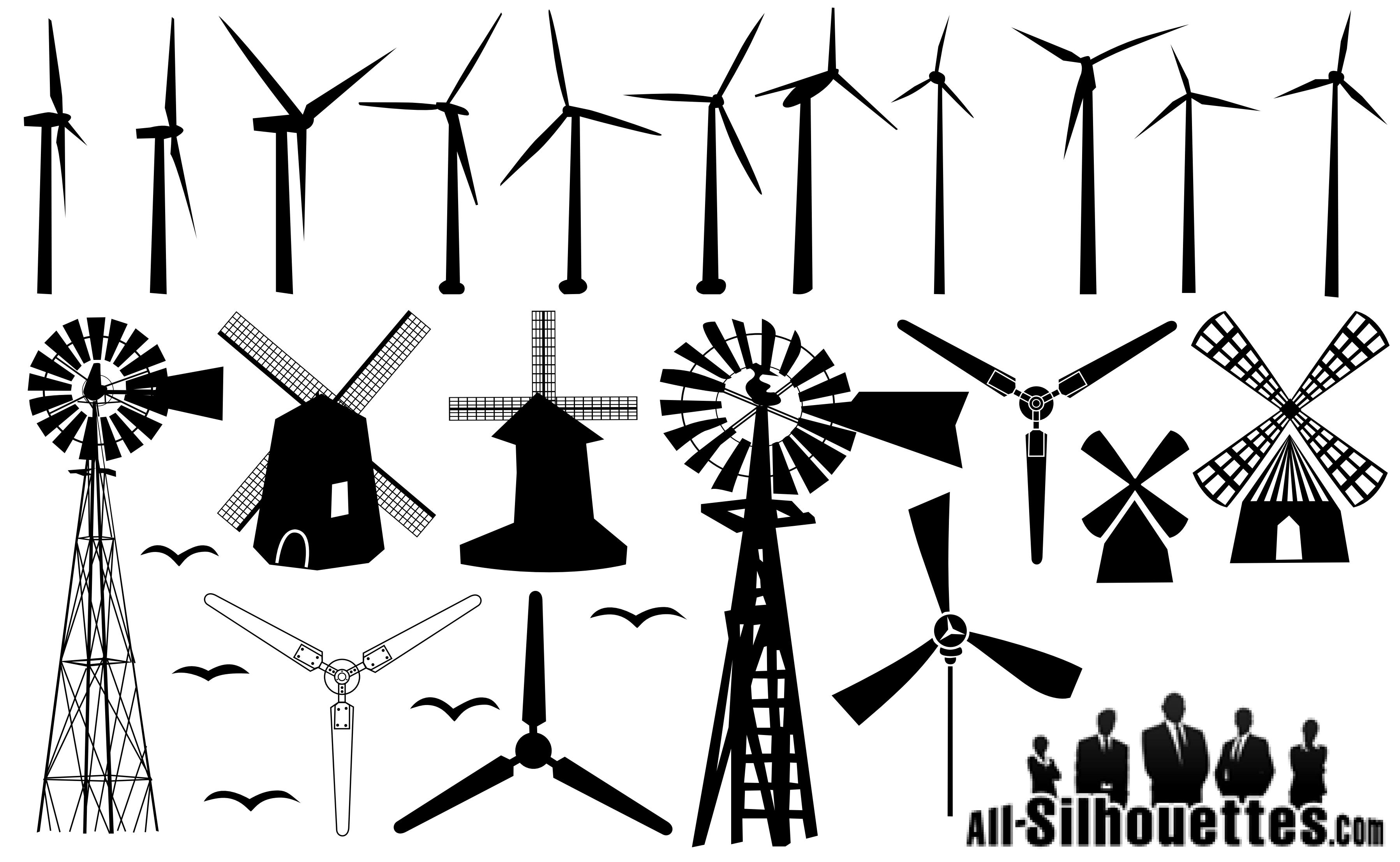 Windmill Silhouettes png