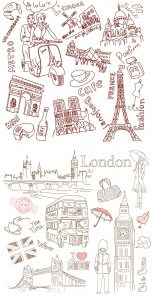 Paris and London line drawing