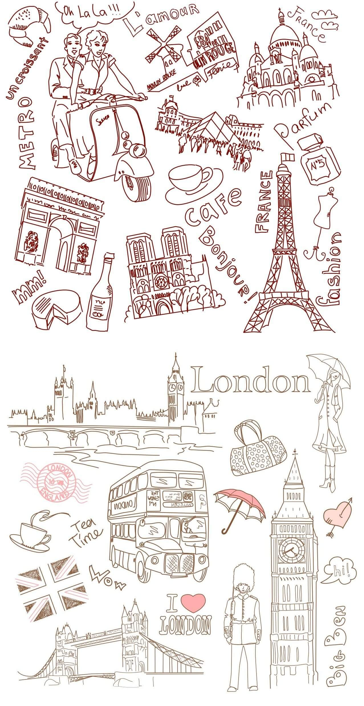 Paris and London Line Drawing [EPS File] png