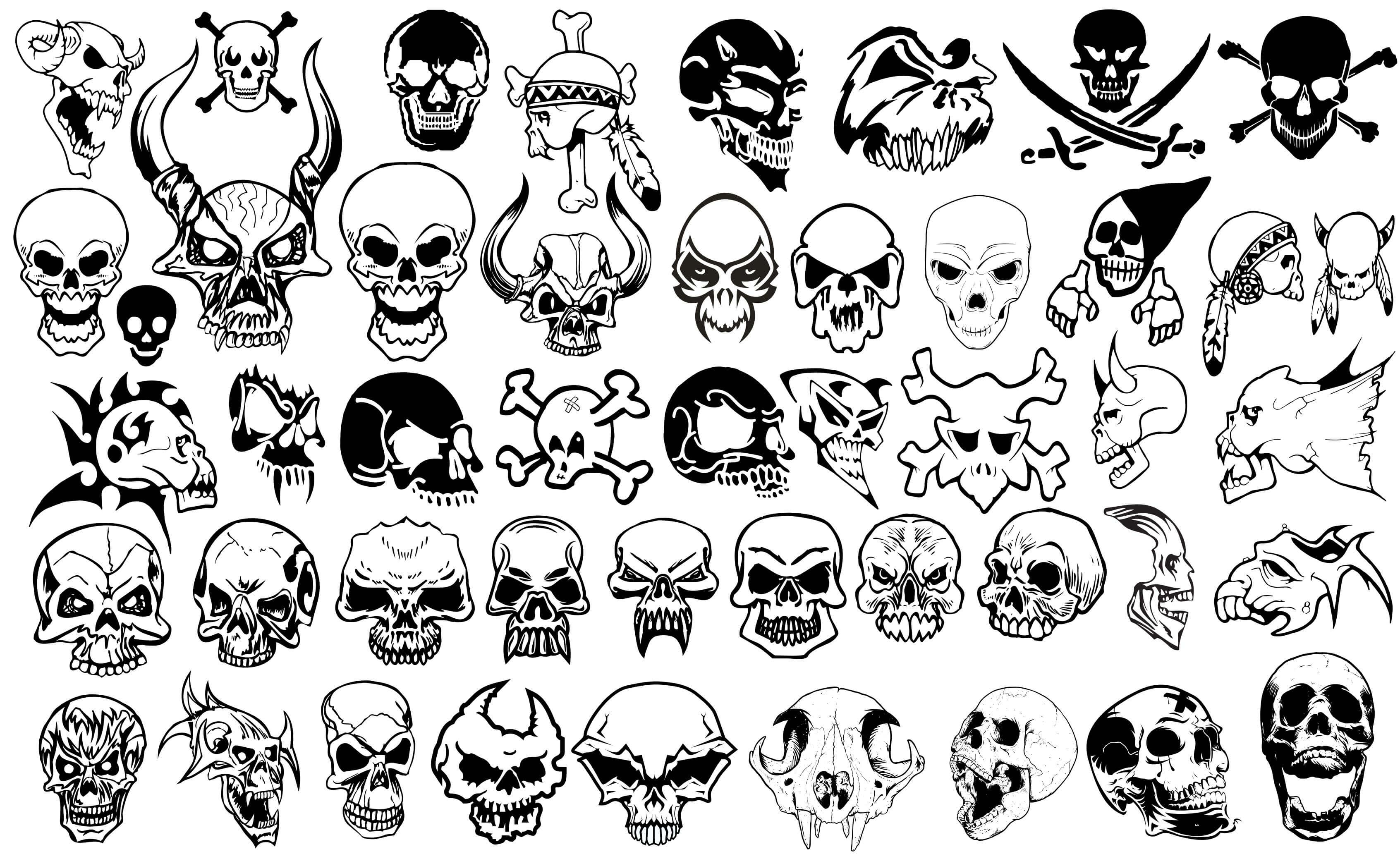 Skull and Crossbones Silhouettes vector