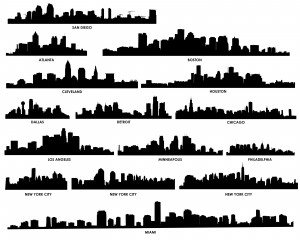 The worlds urban silhouette vector material01