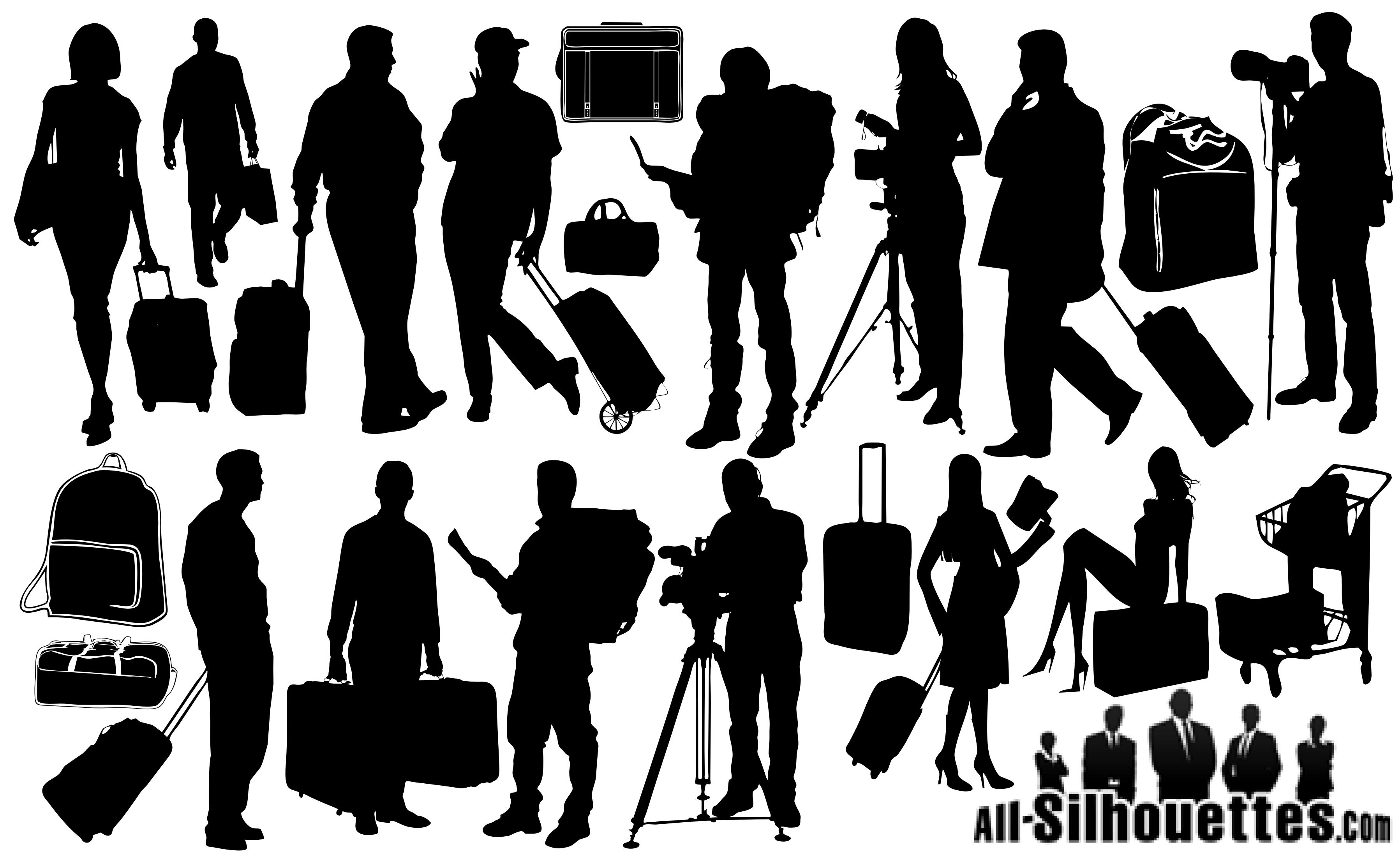 21 Tourists Travelers Silhouettes