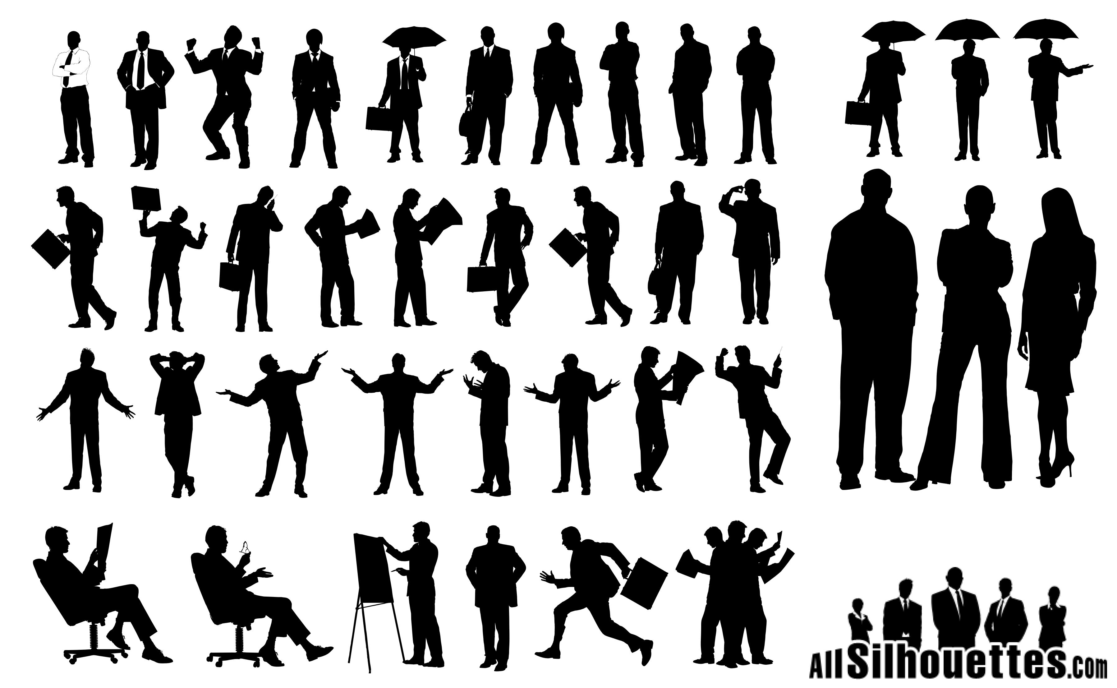 Business People Silhouettes 03 png
