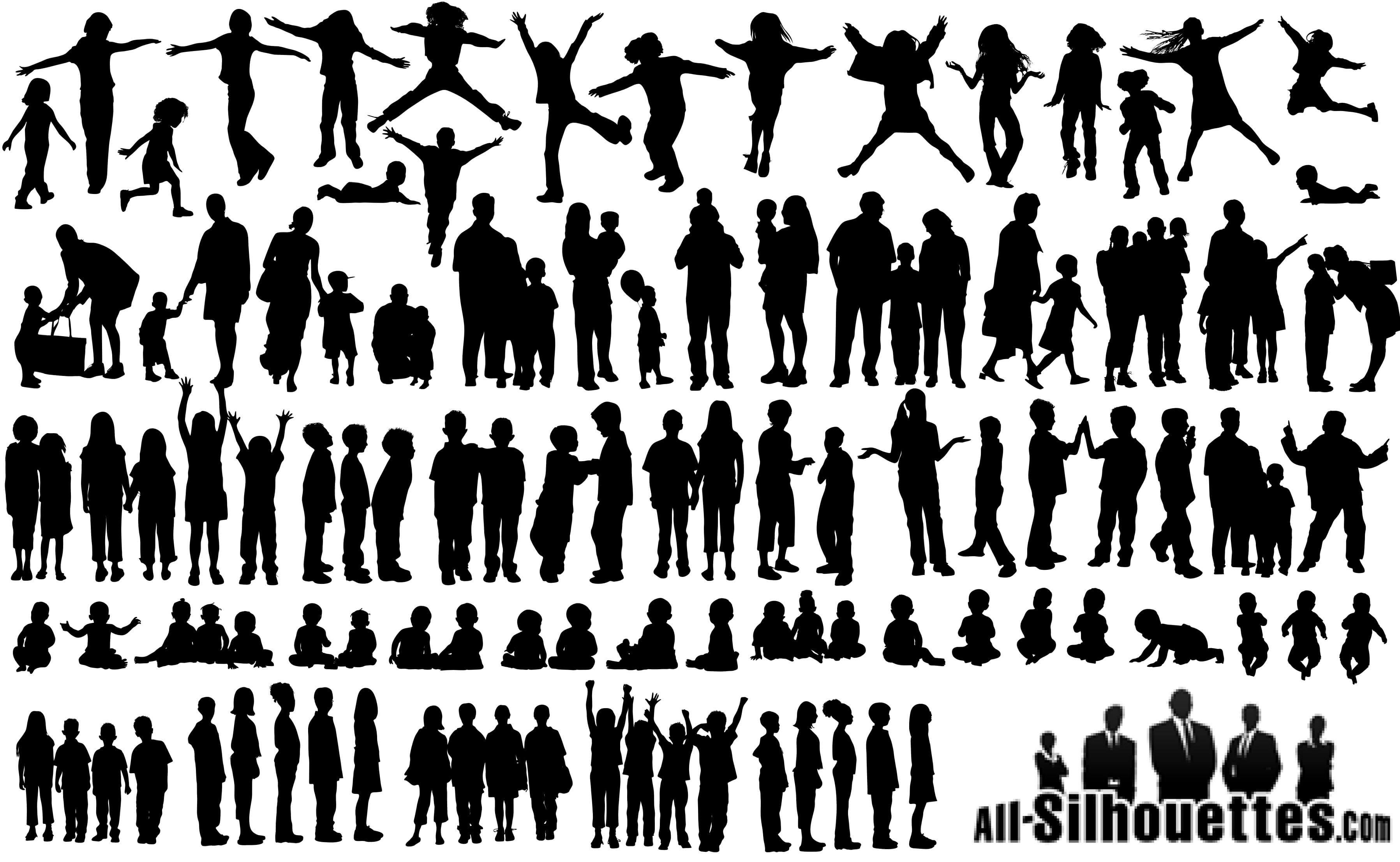 60 Children Kids Teens Silhouettes png