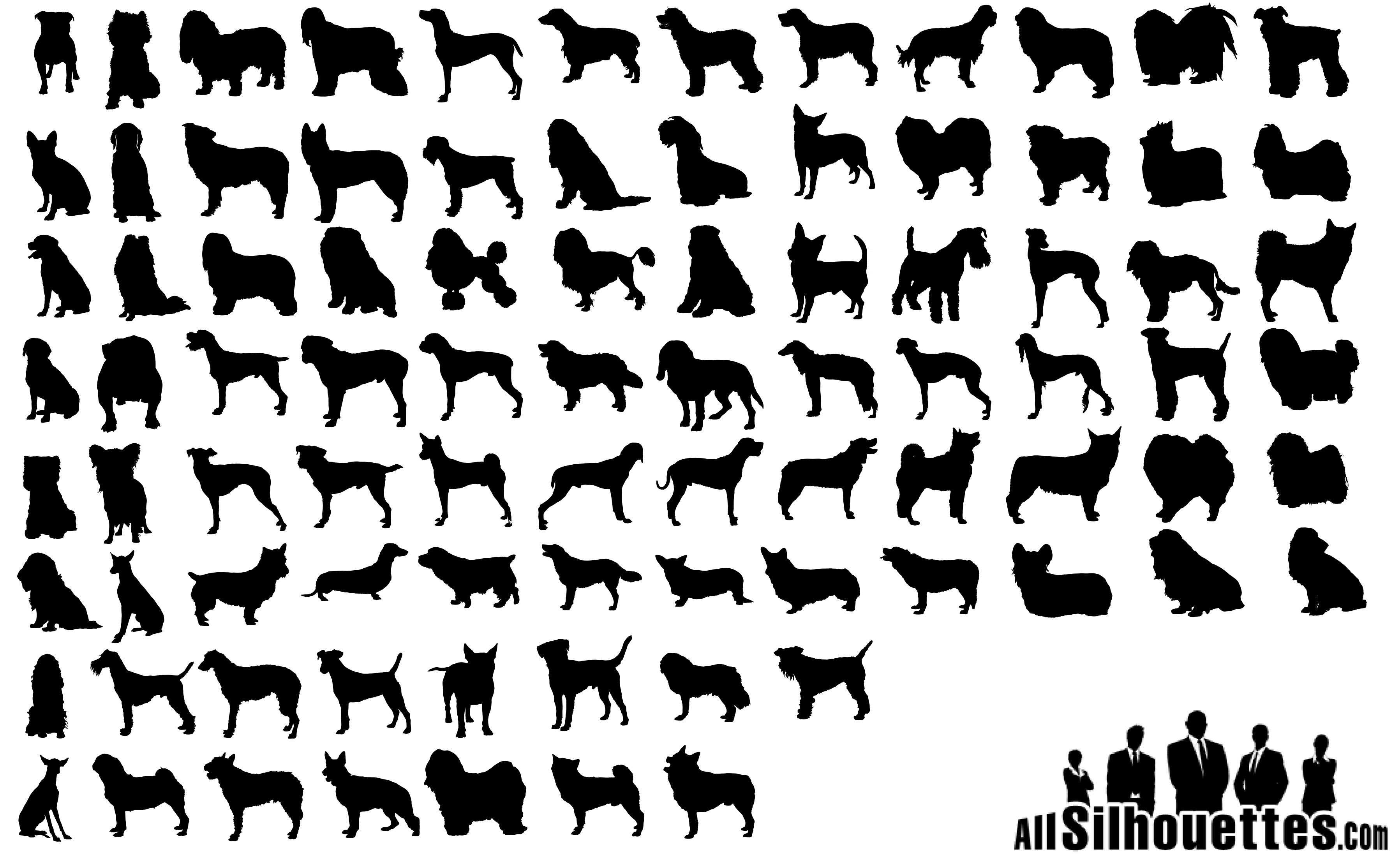 80 Dogs Silhouettes png