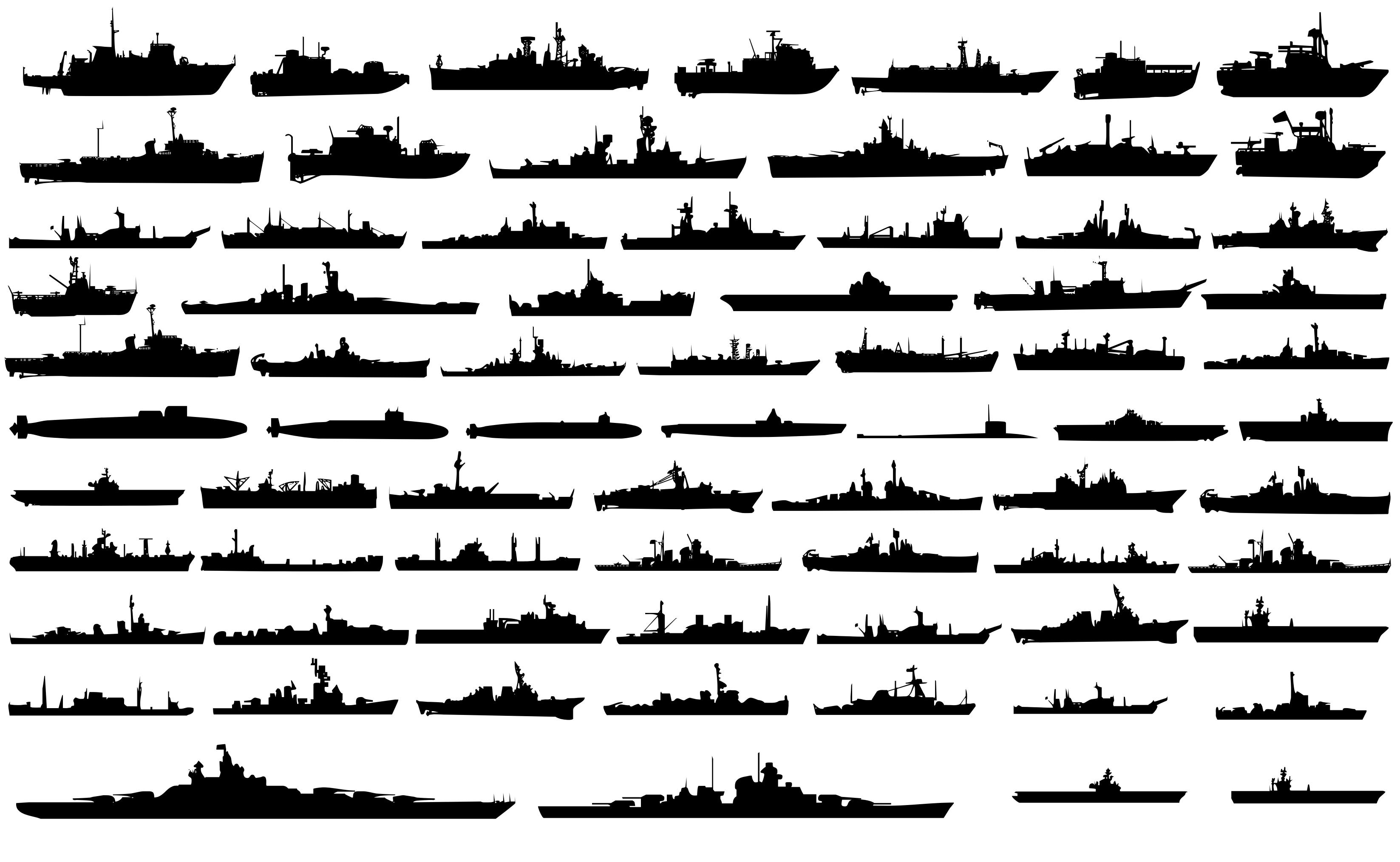 Navy Ships Silhouettes