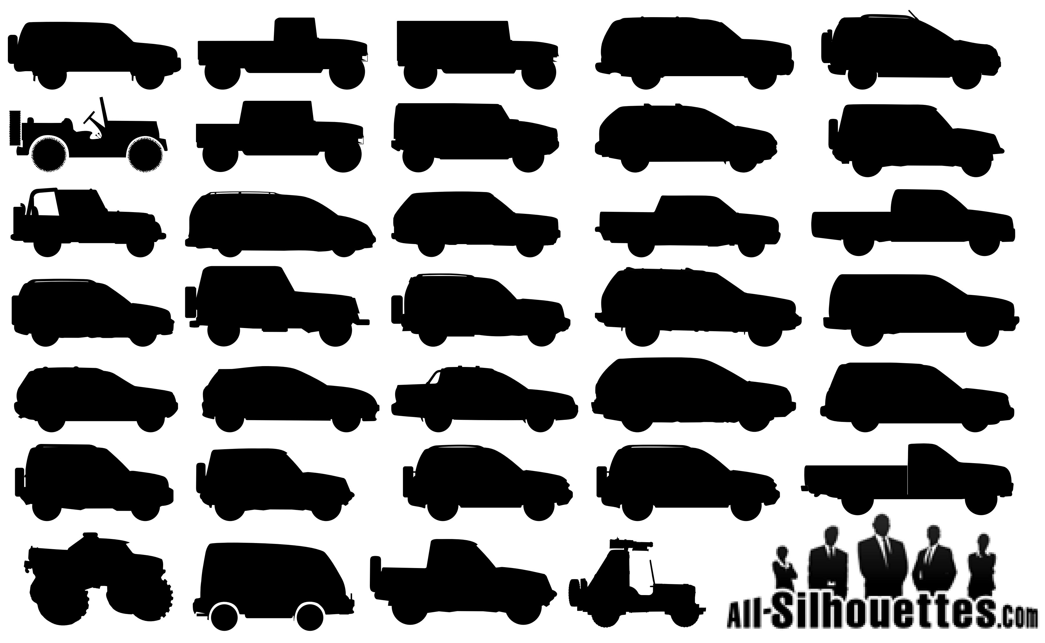34 Off Road Cars Silhouettes png