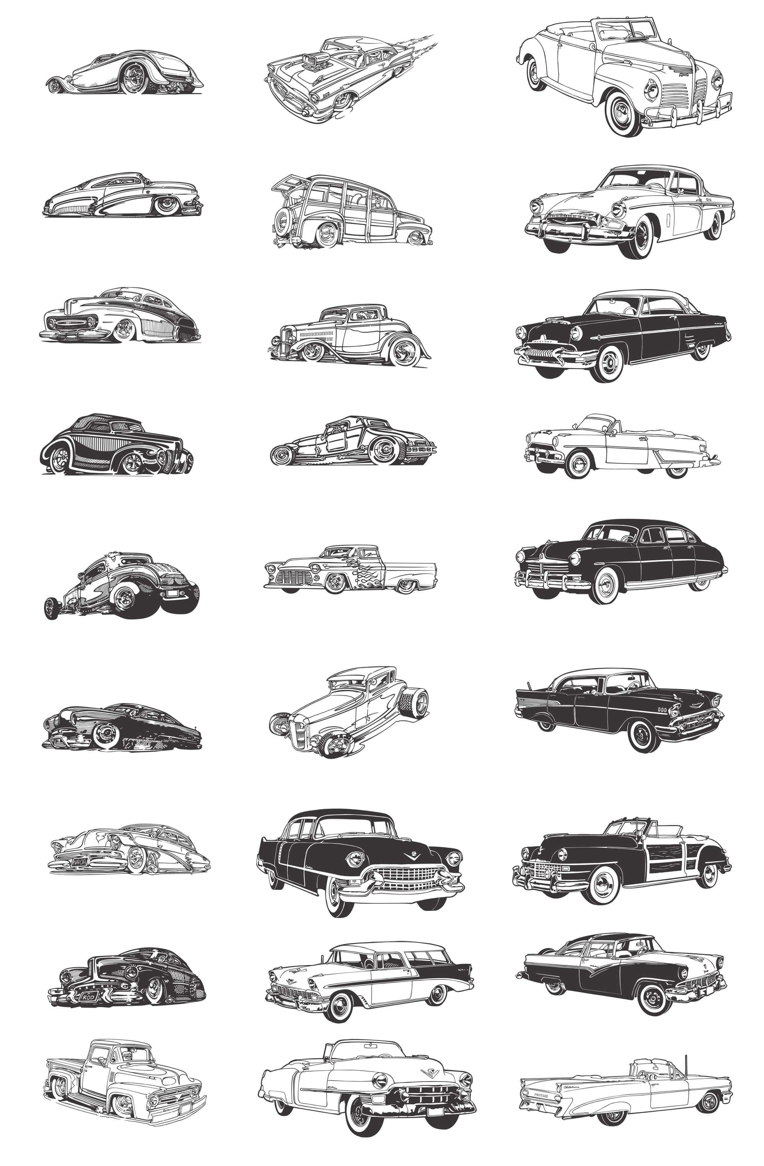 Transport, Classic Cars Silhouettes