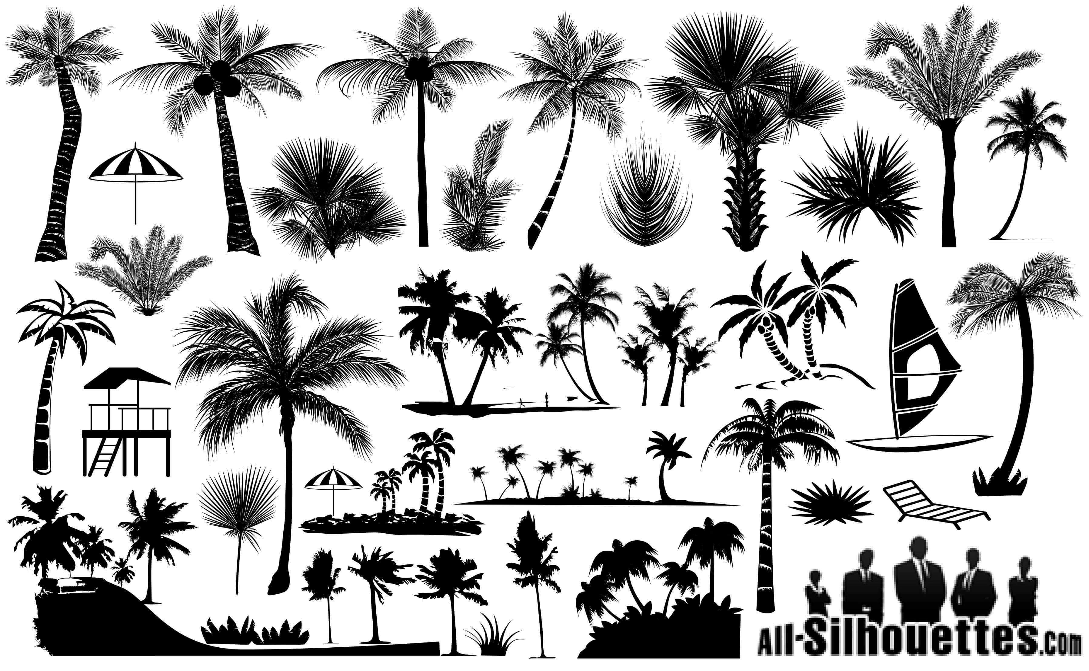 Palm Trees Silhouettes Vector EPS Free Download, Logo, Icons, Clipart