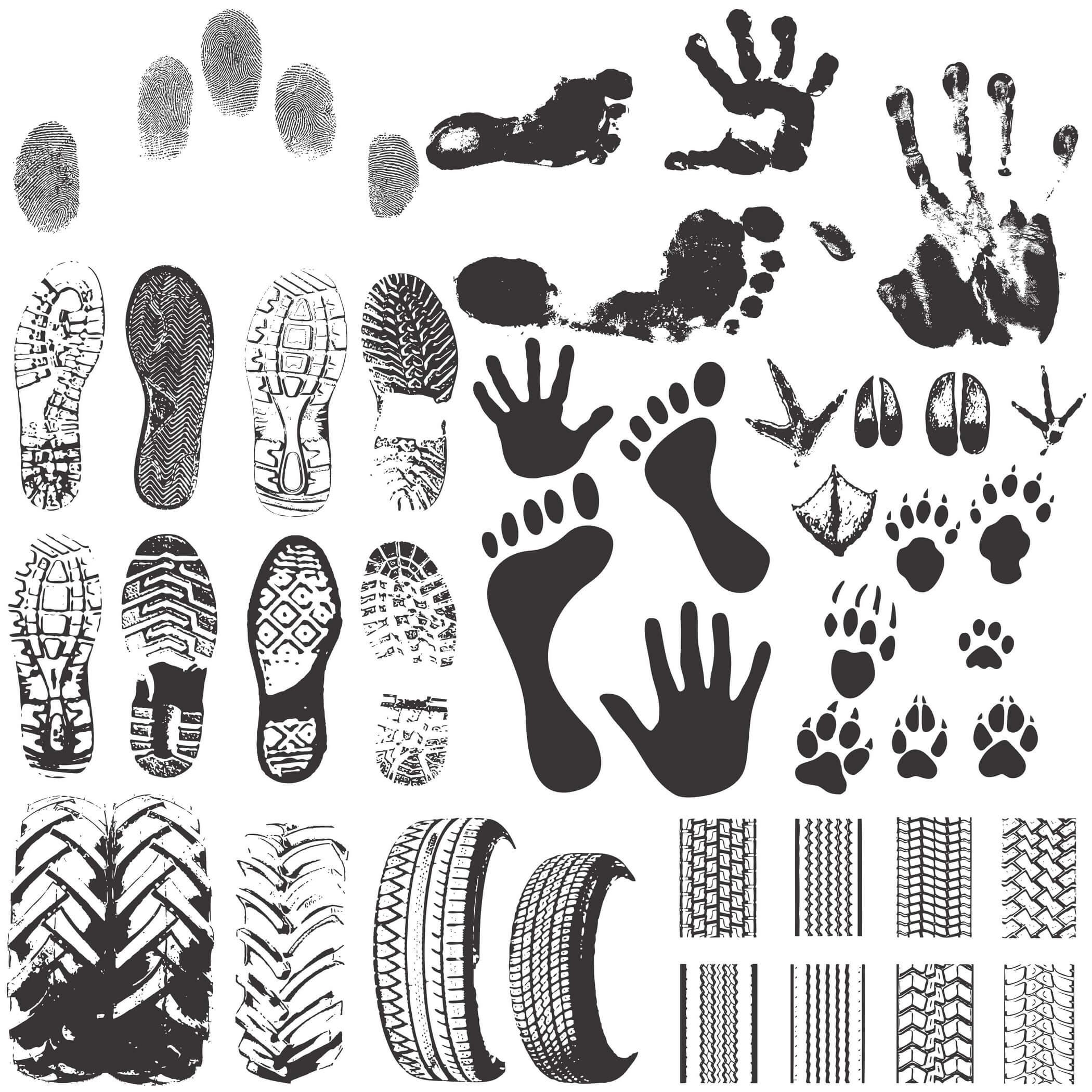 45 Footprints Silhouette Vectors png