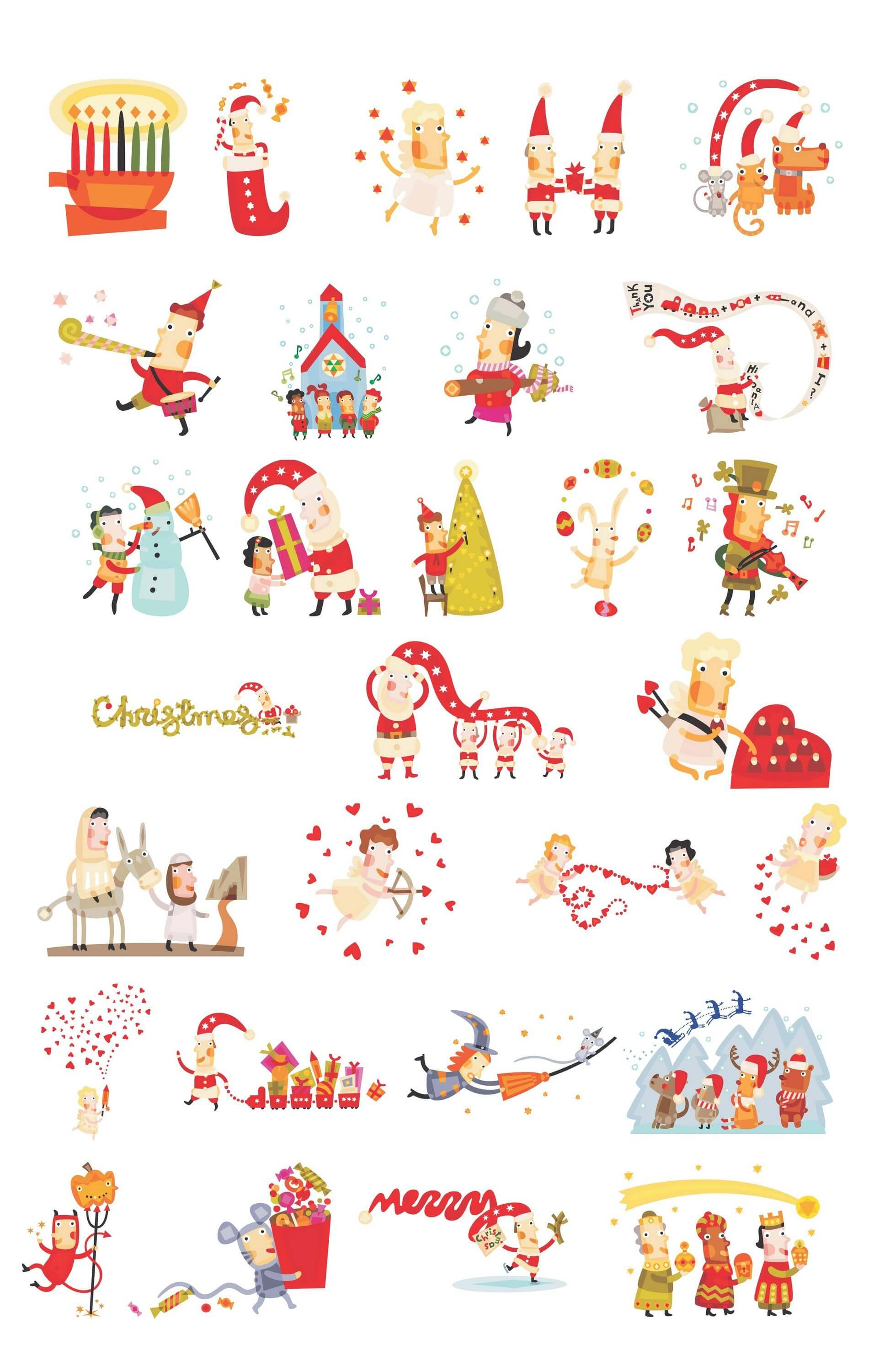 Cute Christmas Characters [EPS File] png