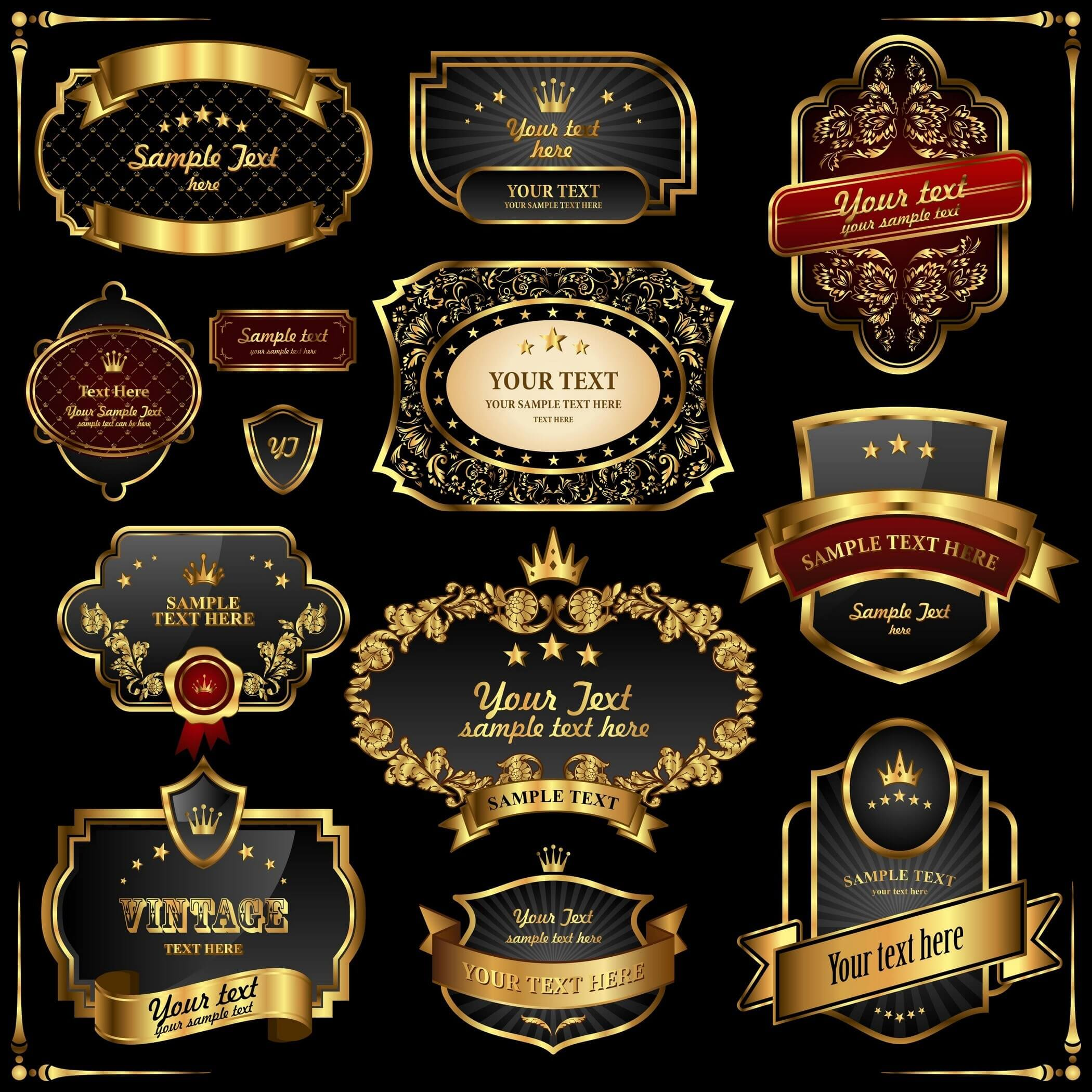 Retro Gold Frames Labels 01
