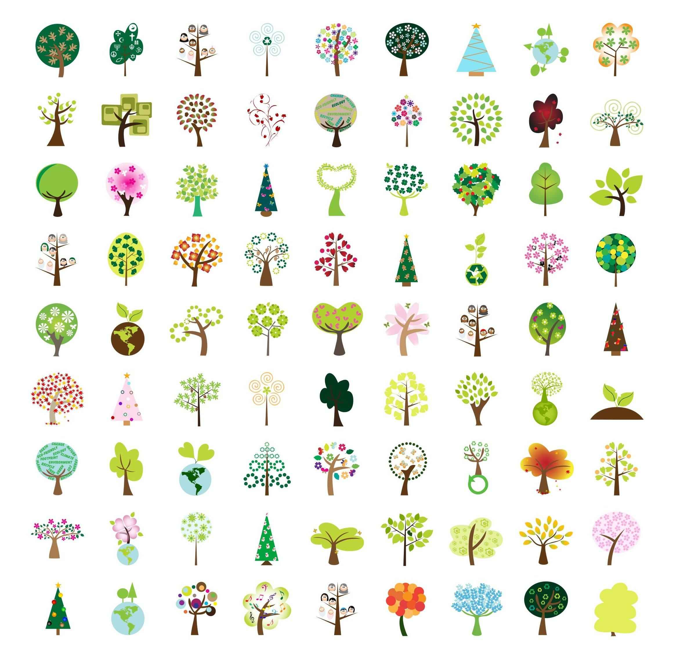 Simple Tree Set 01 vector