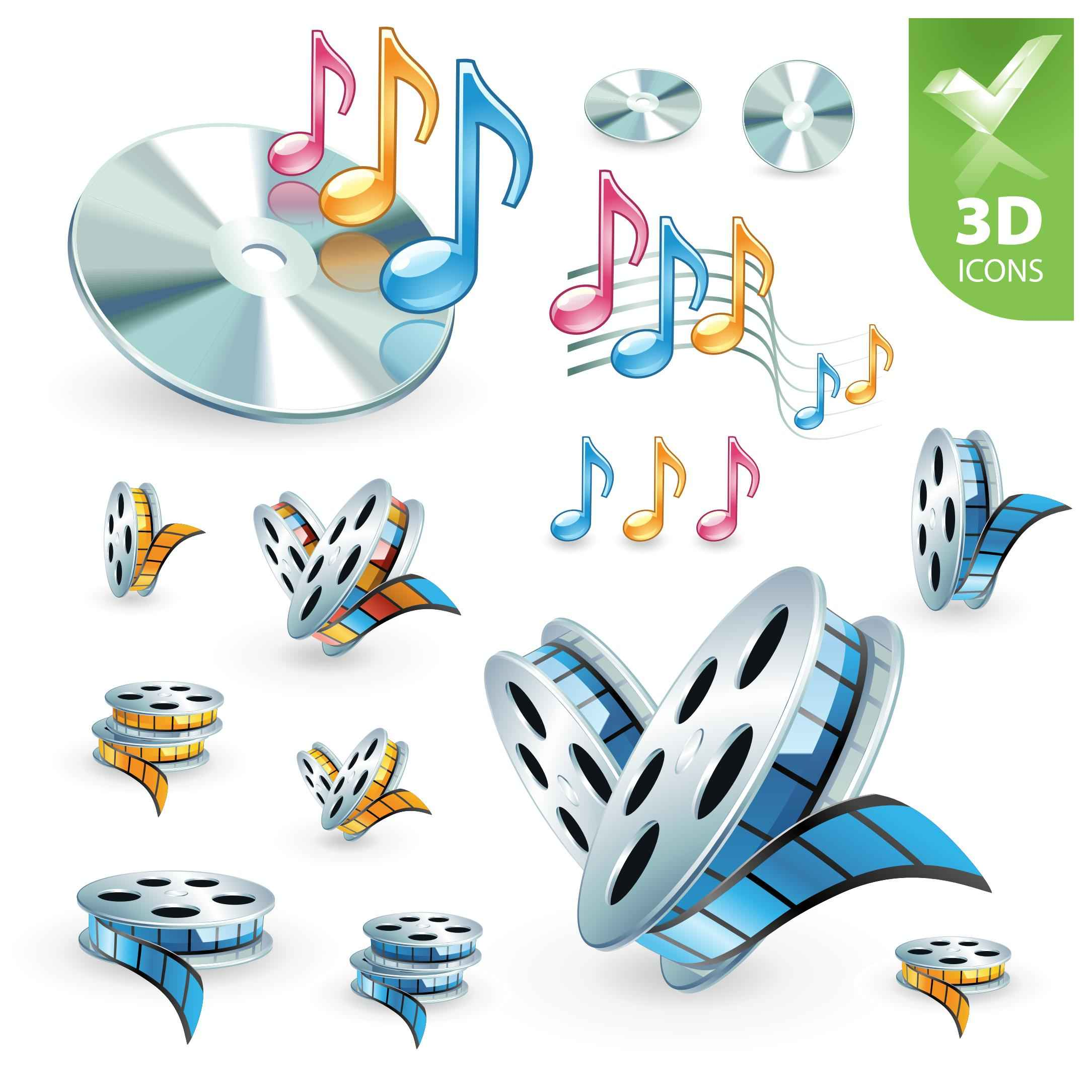 3D audio video icon 01 vector