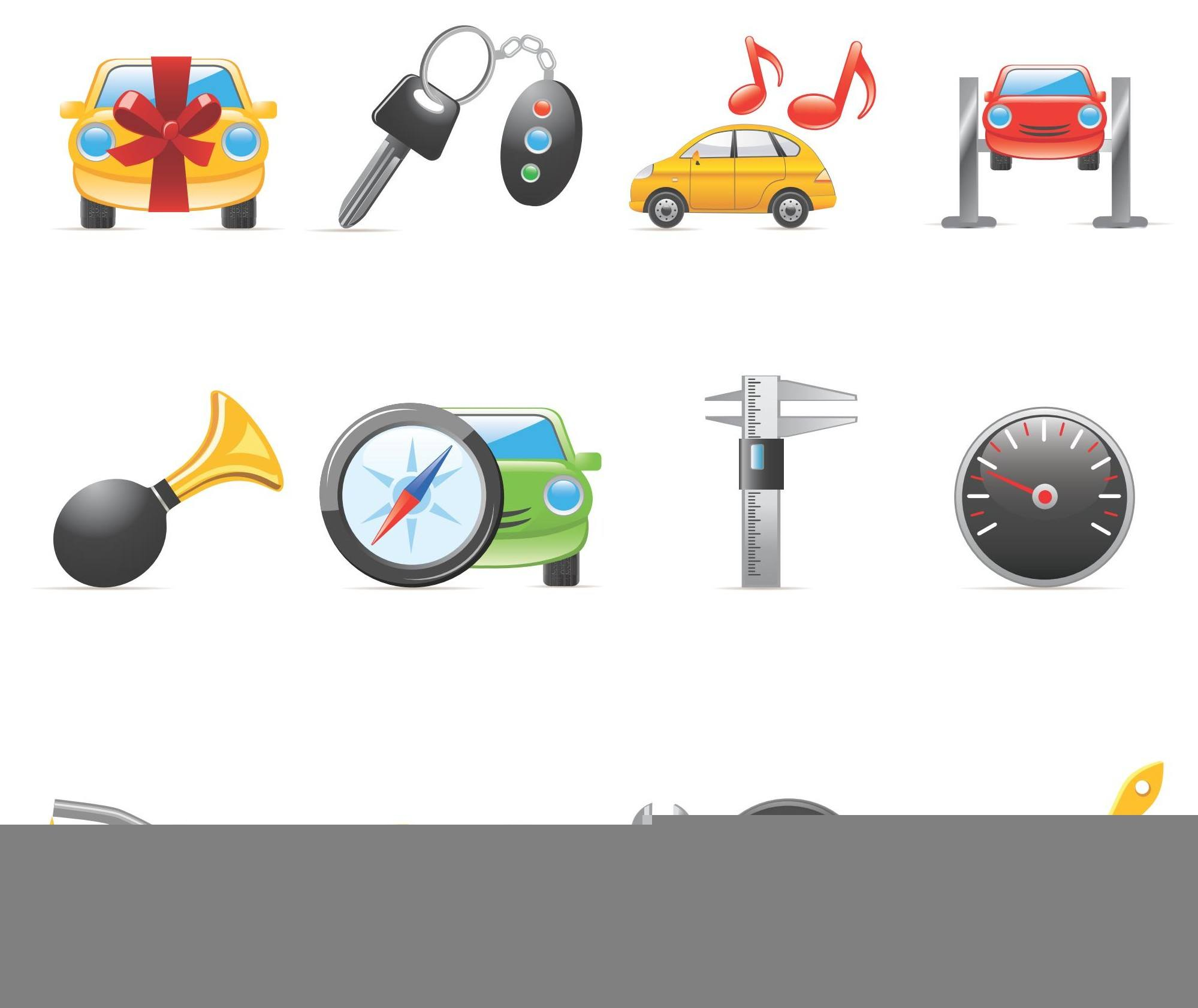 Car peripheral products icons 01 vector