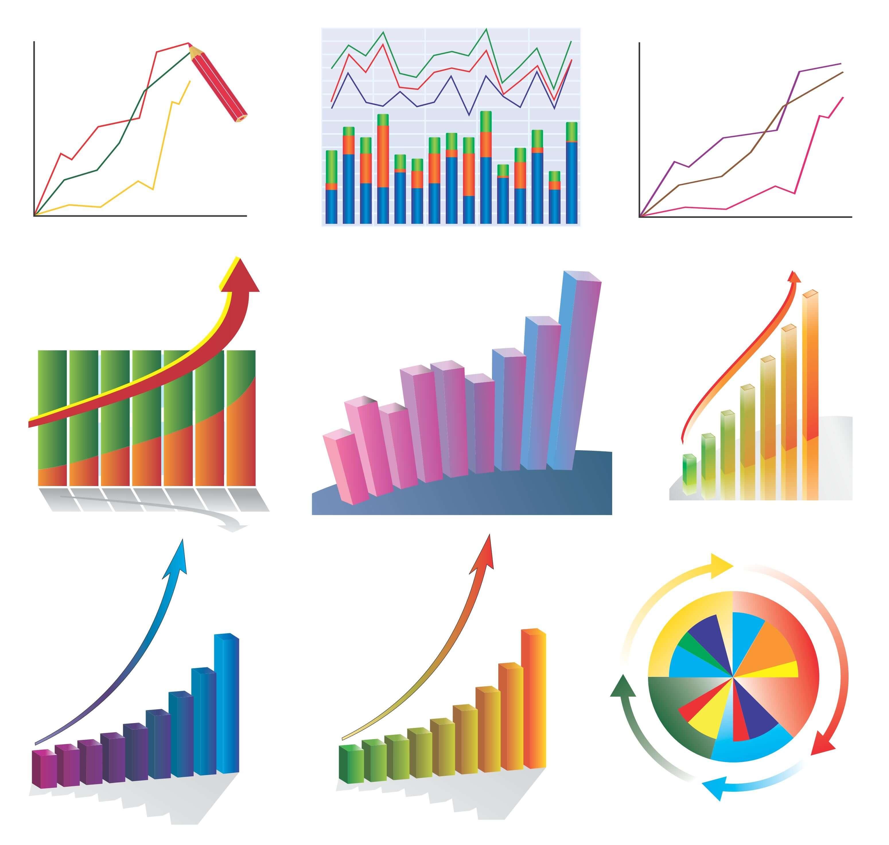 Statistic, Chart, Line Graph, Flow Diagram Symbols 02 png