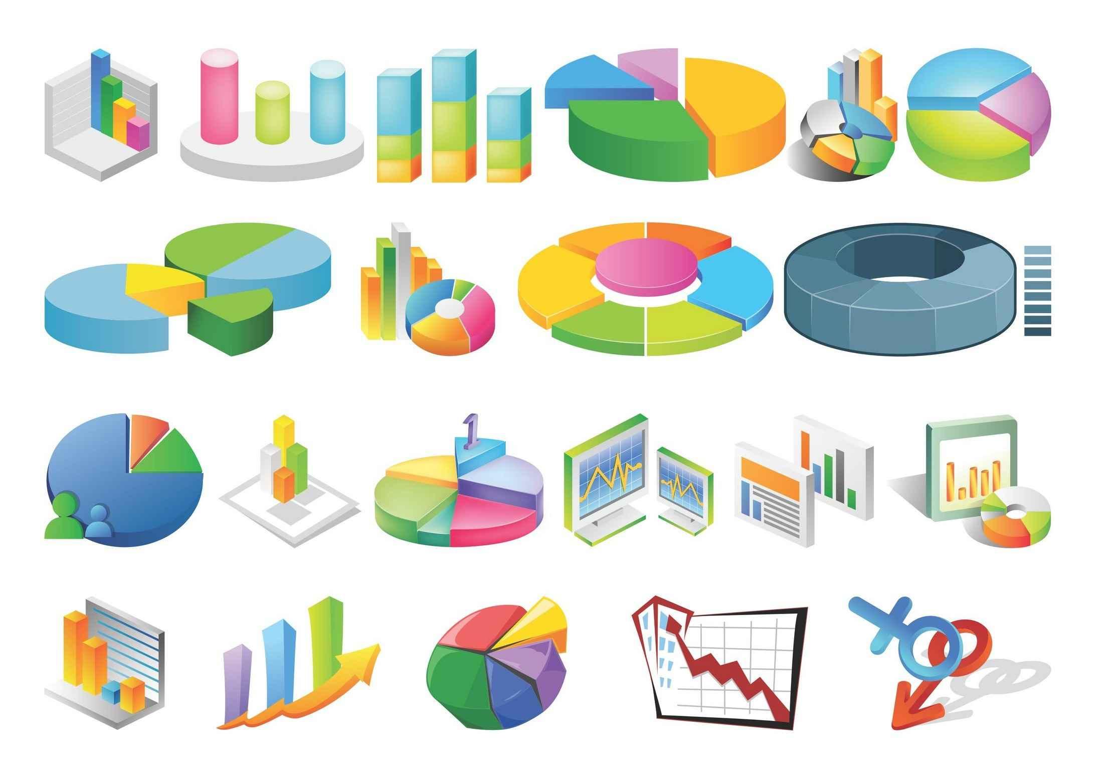 Statistic, Chart, Line Graph, Flow Diagram Symbols 01 png