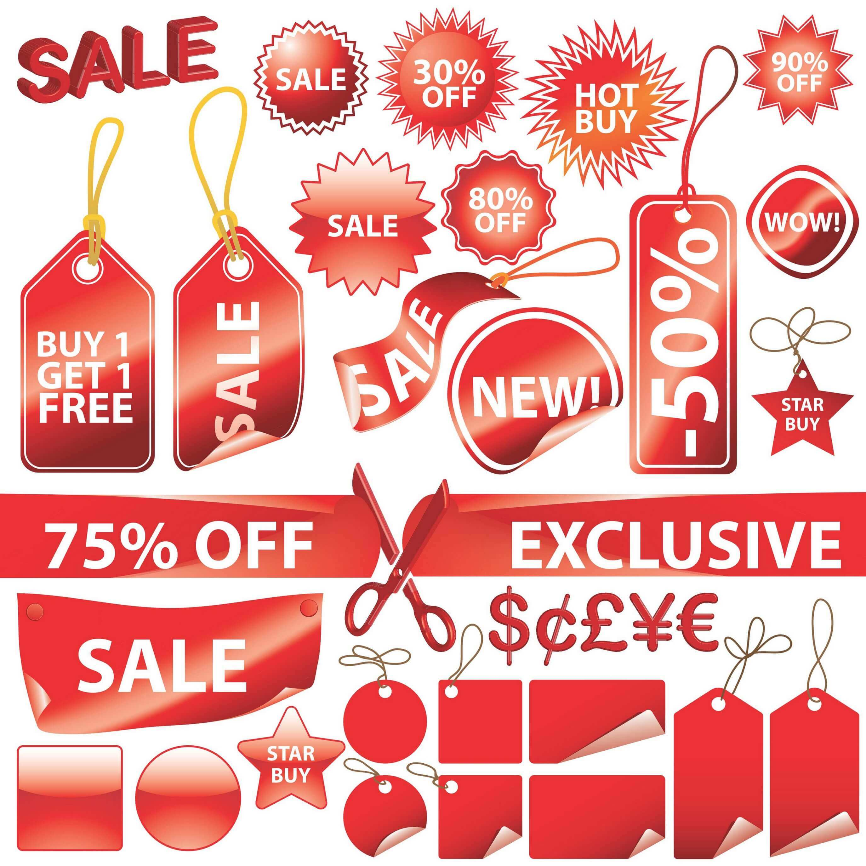 Red Decorative Label Graphics png
