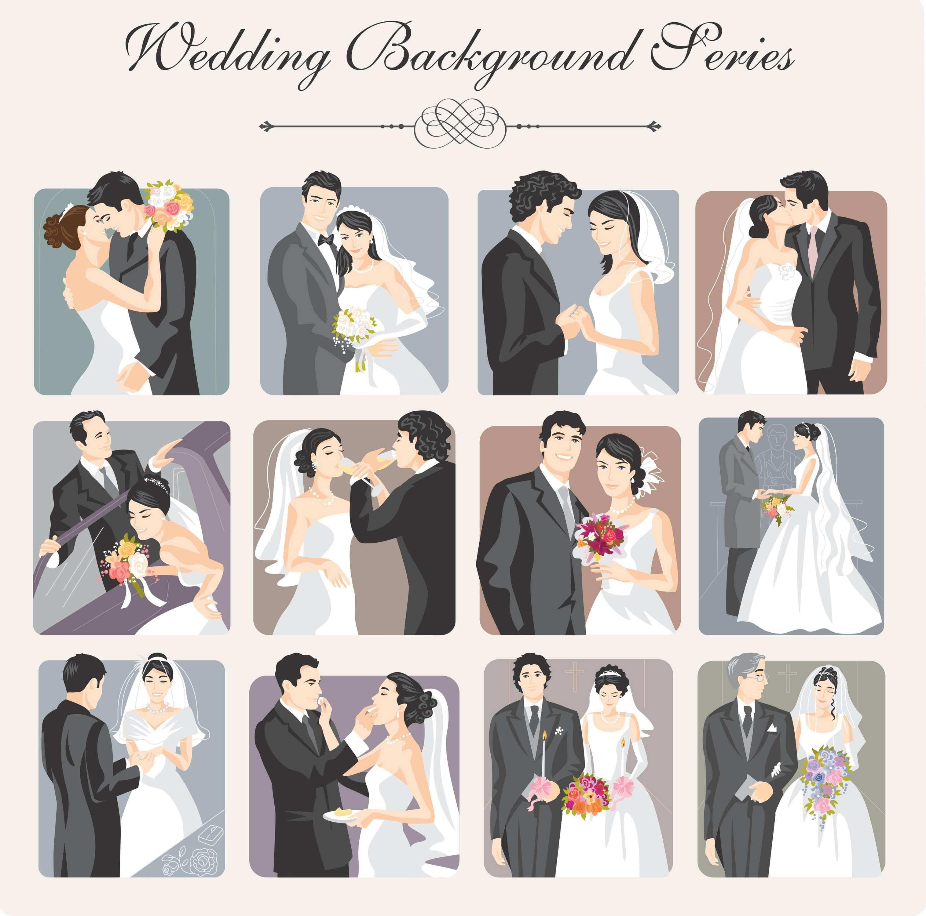 Wedding Backgrounds Illustrator 01 vector