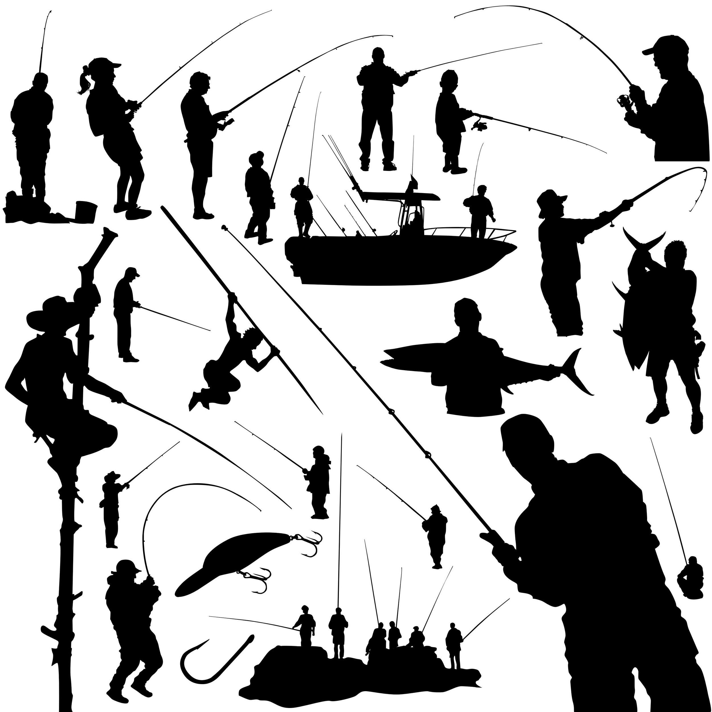 Fisherman Silhouettes png