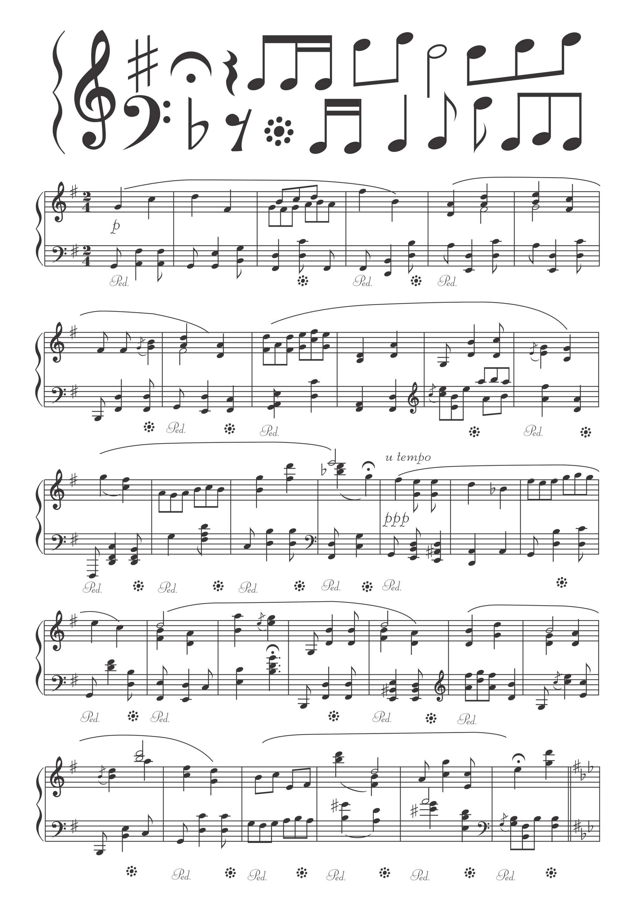 Handwritten Sheet Music png