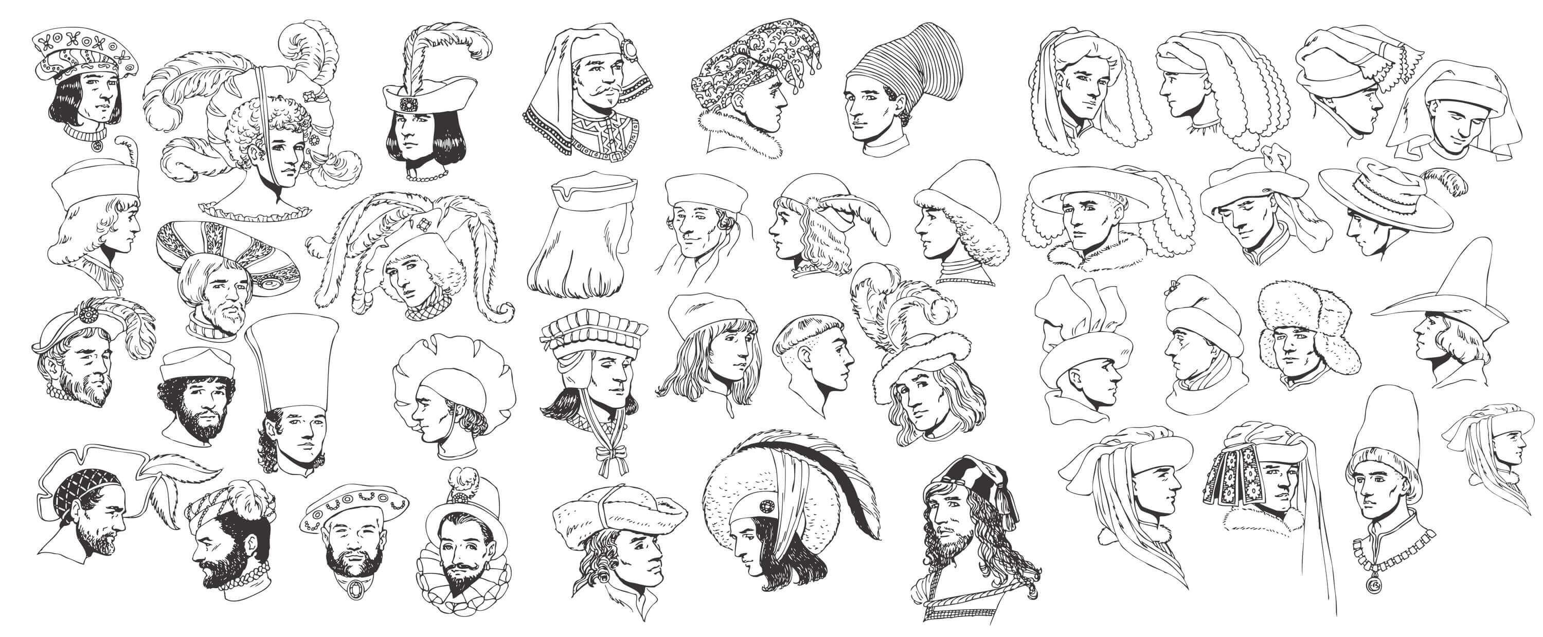 Renaissance Tradition of Human Head and Hats Vectors [EPS File]