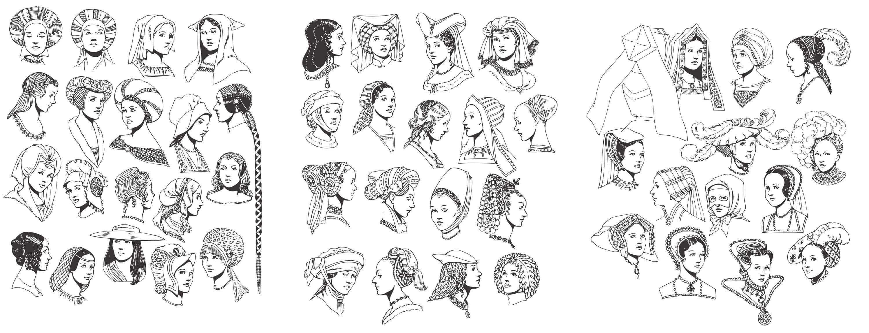 renaissance tradition of woman head vector