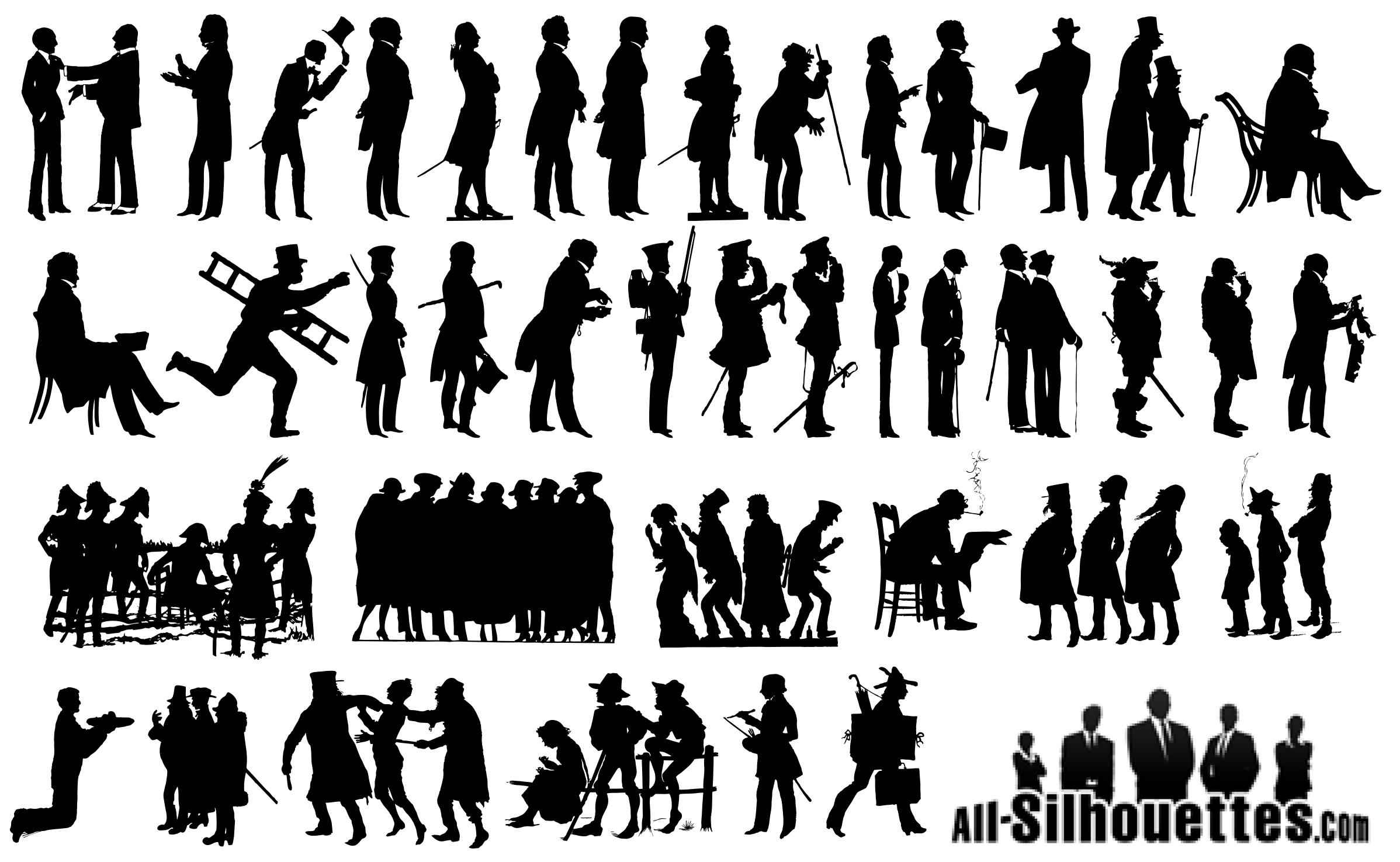 18th century man silhouettes