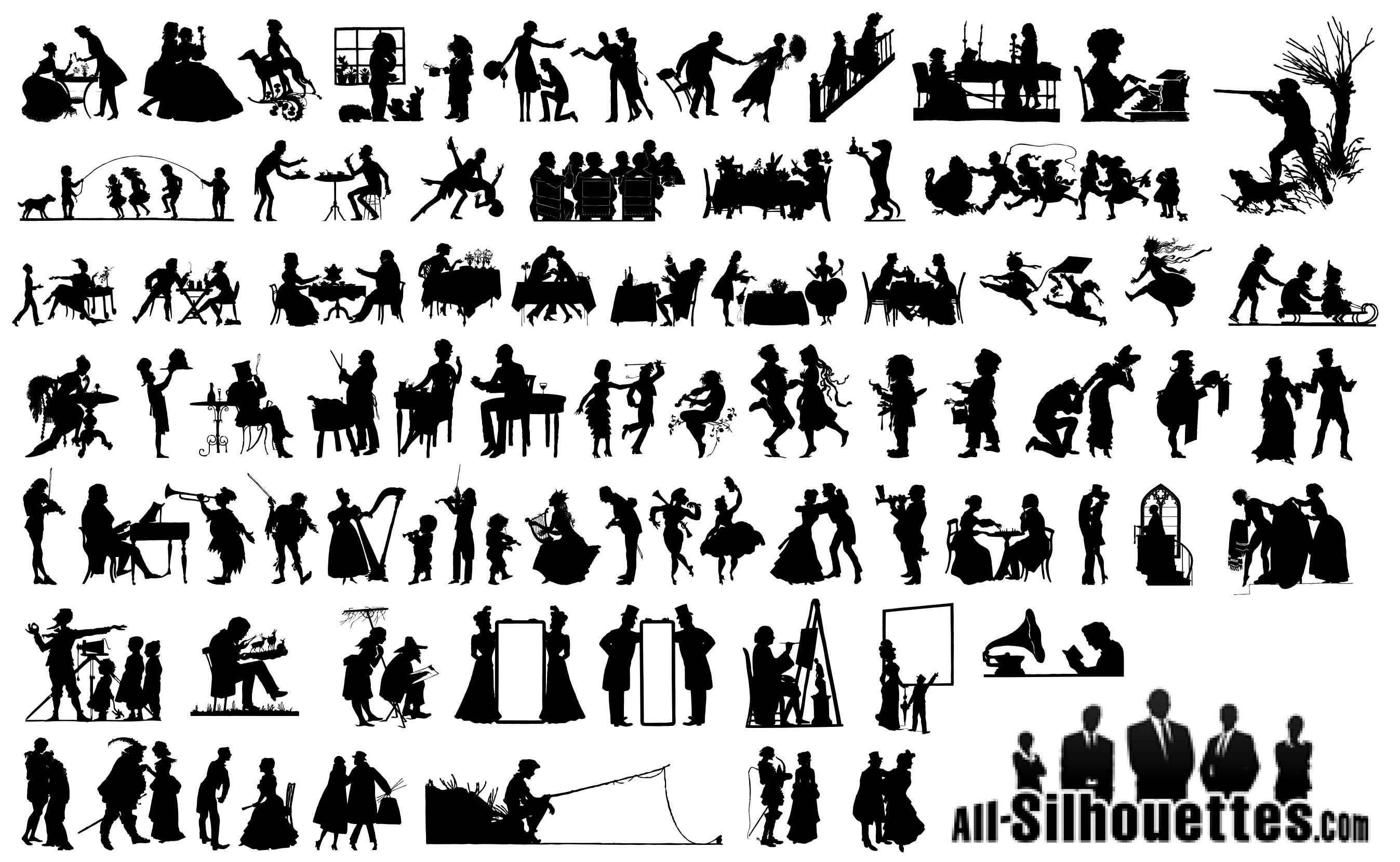 19 Century People Silhouettes Vector Icon Template Clipart