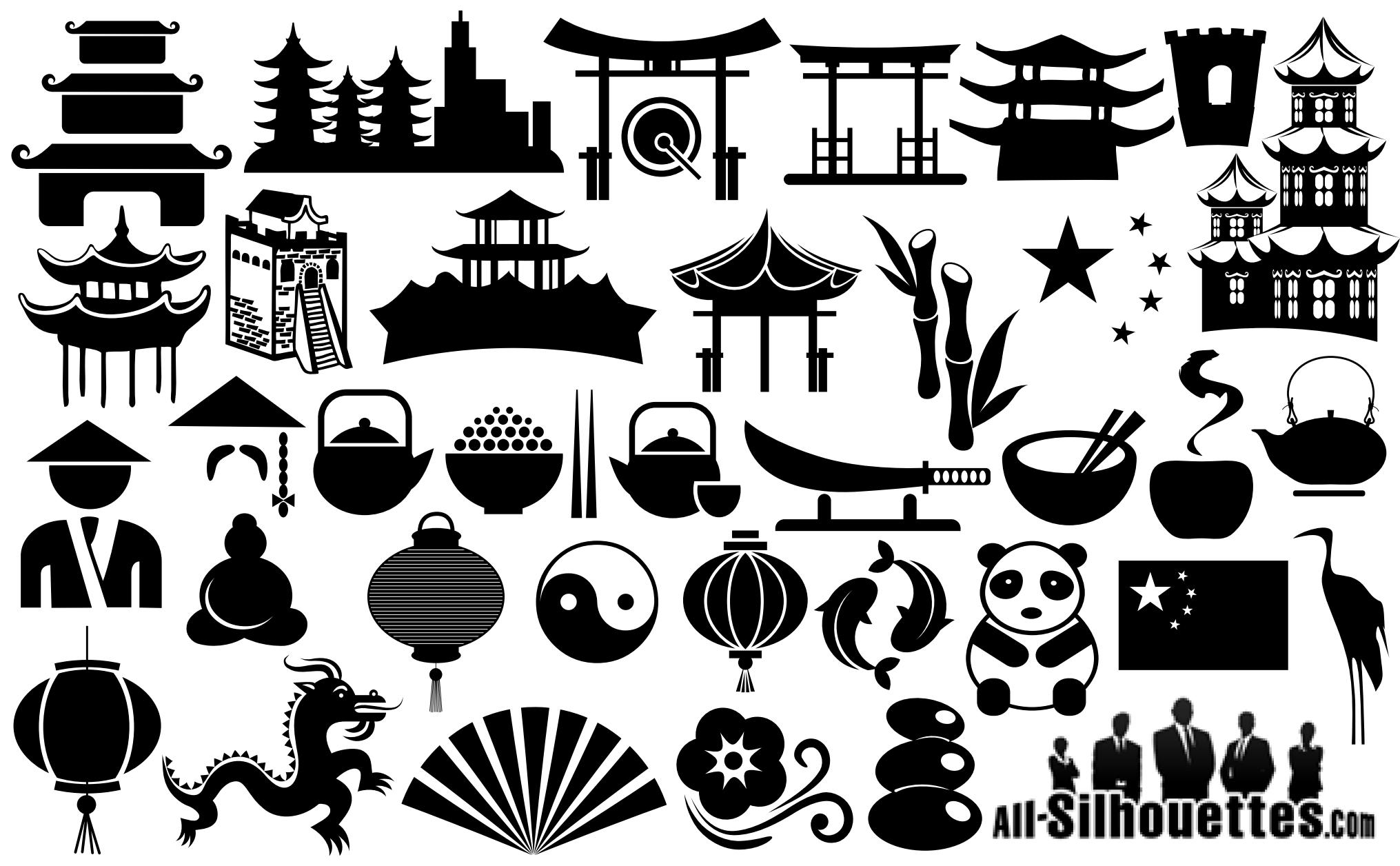 China Symbols Silhouettes png