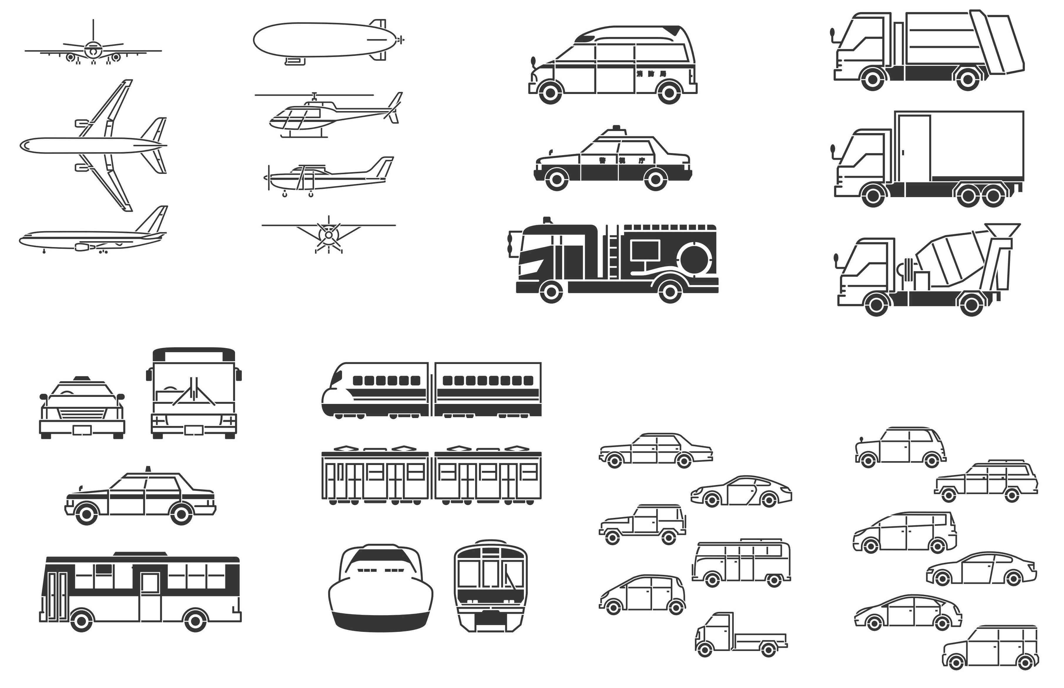 Transport, Plane, Helicopter, Car, Truck, Train, Bus Silhouettes png