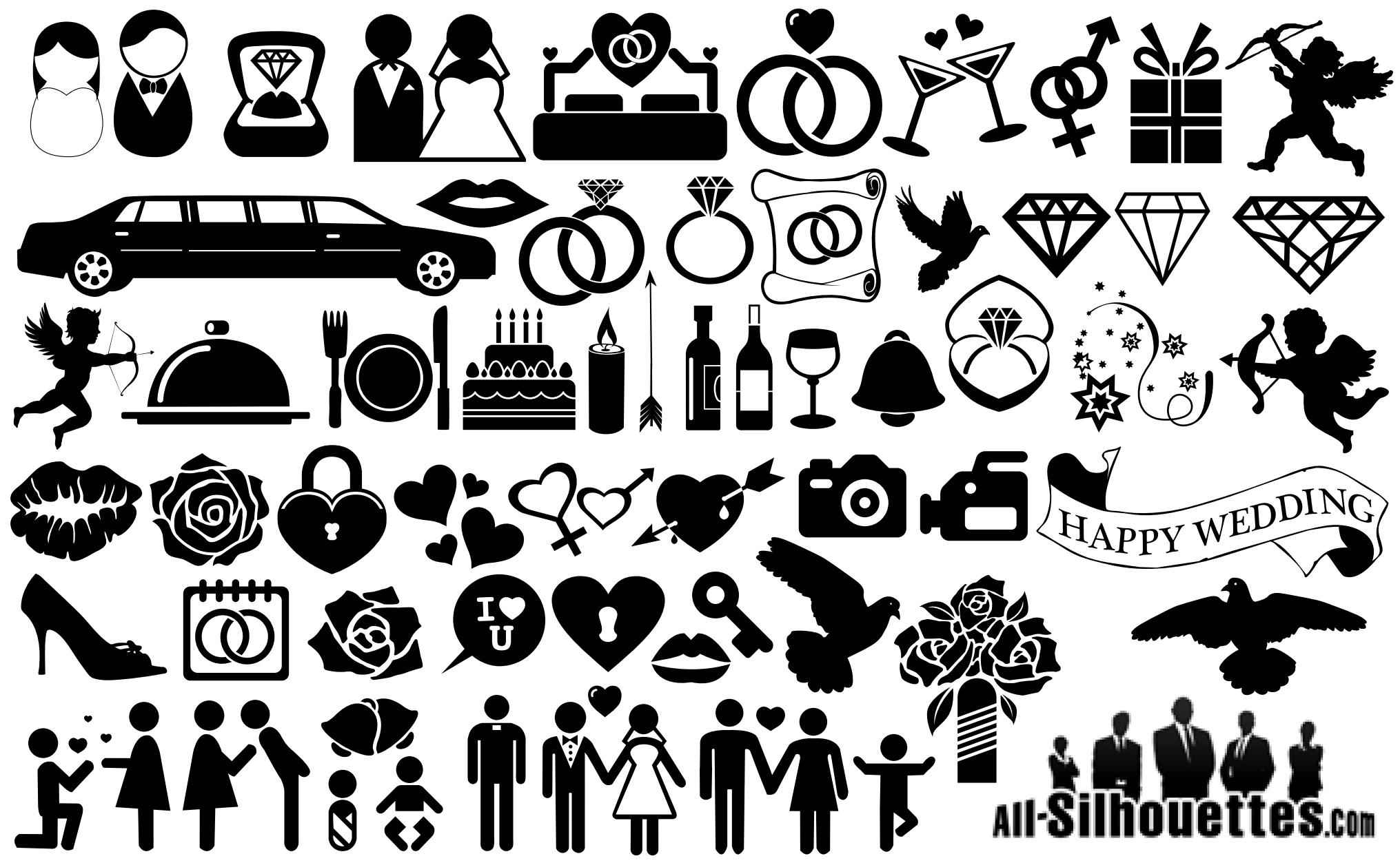 Wedding Icons Symbols Silhouette