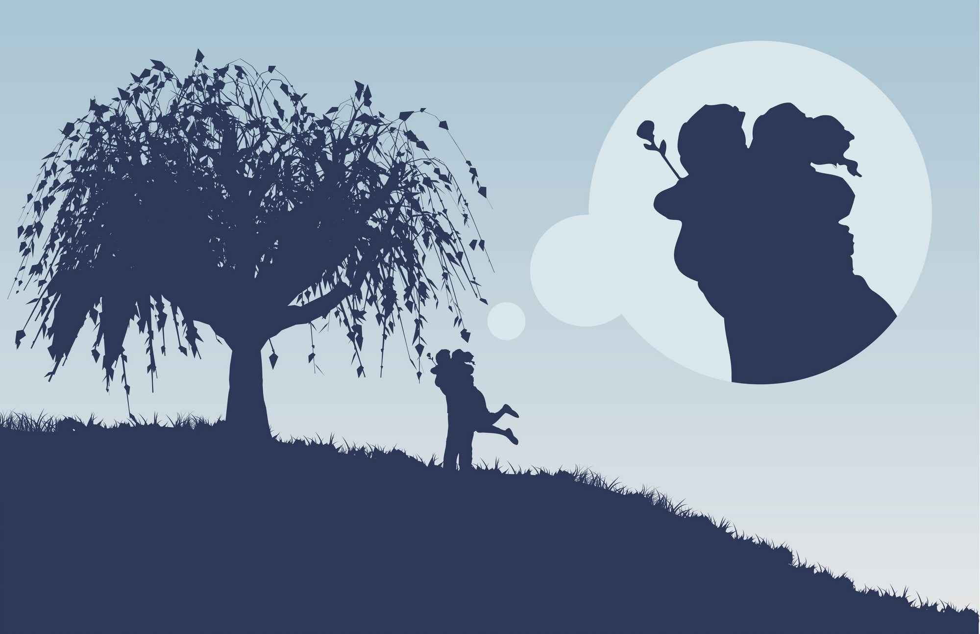 Large Tree Couple Silhouette