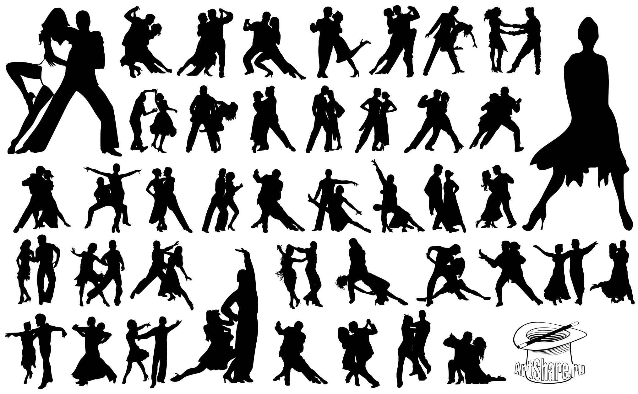 Tango Dancers Silhouettes png