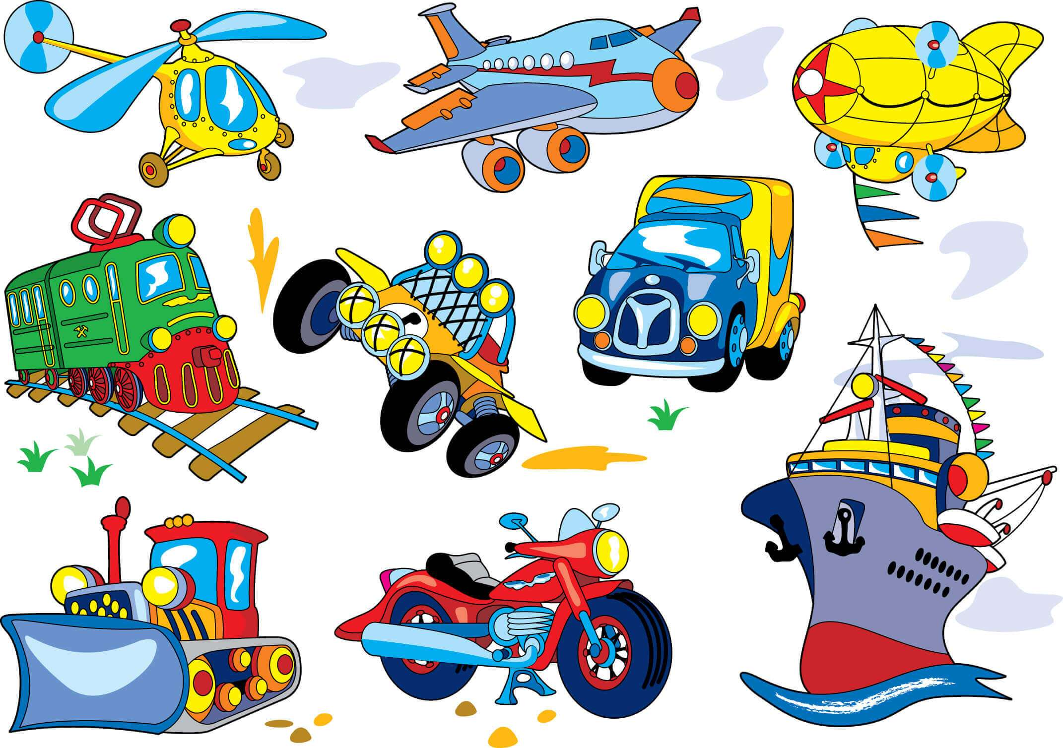 Transport, Helicopter, Plane, Zeplin, Train, Car, Ship, Motorcycle png
