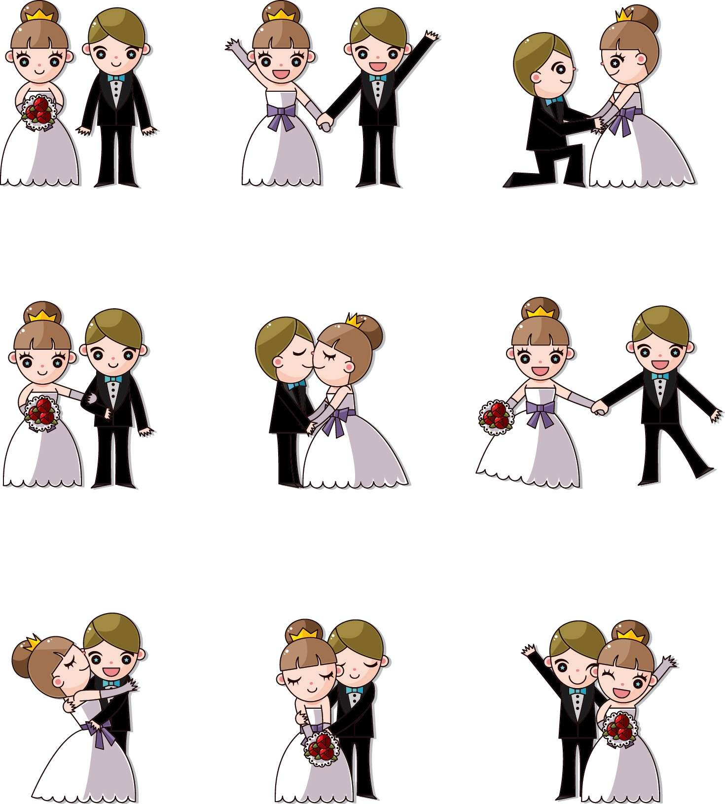 Cute cartoon wedding png
