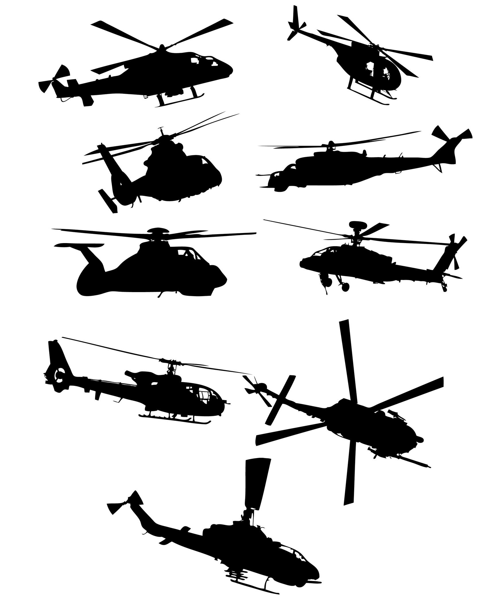 Helicopter Silhouettes 02 png