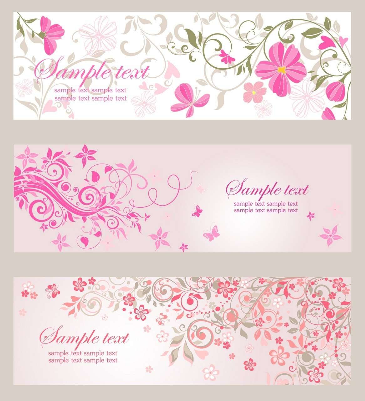 Banner 09 [floral, pink] png