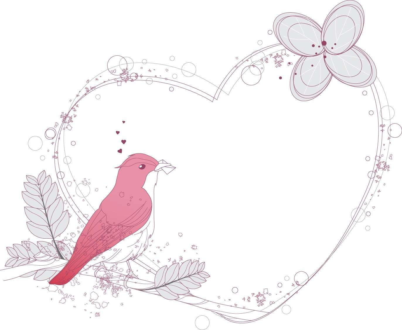 Heart, Bird, Decorative, Frame, Romantic