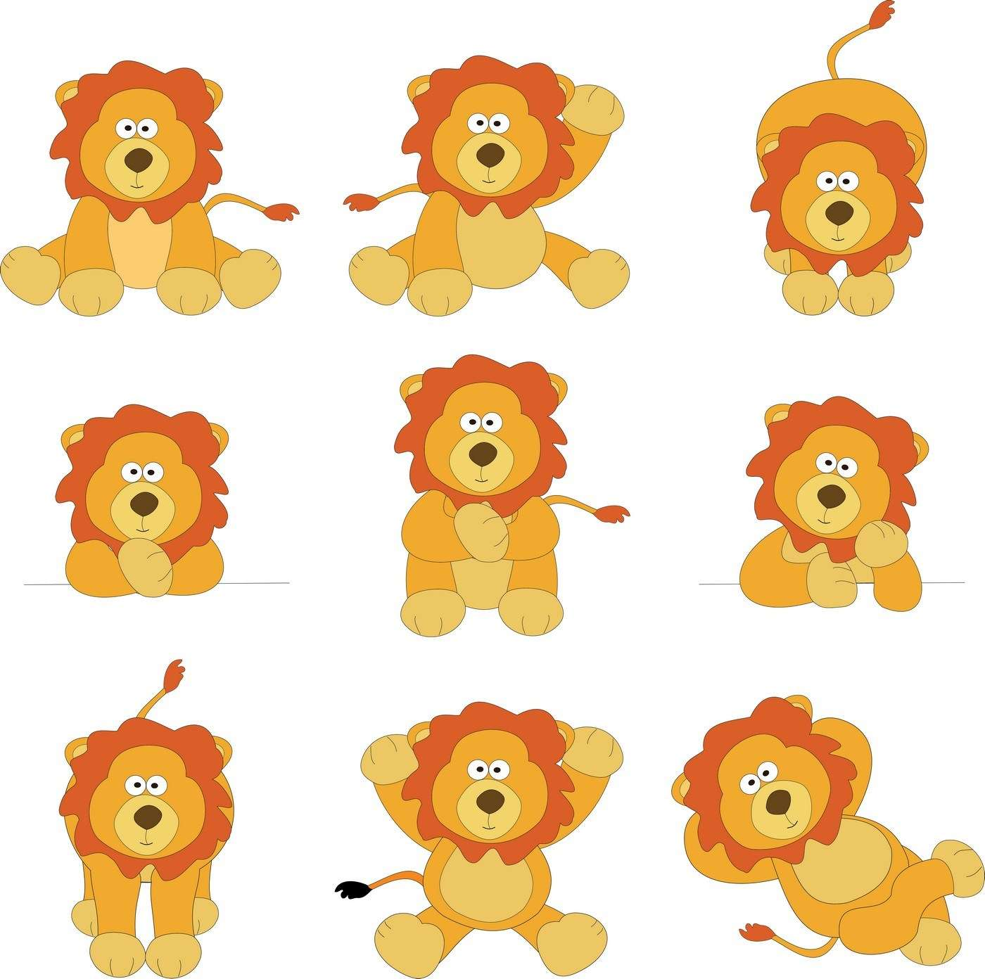 Cute Cartoon Animals, Lion