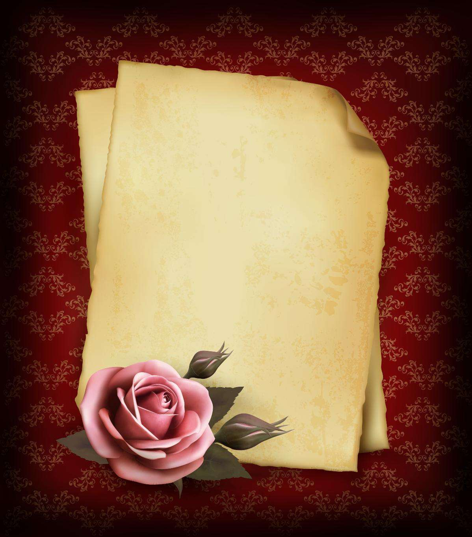 Rose Background, Old Paper Frame